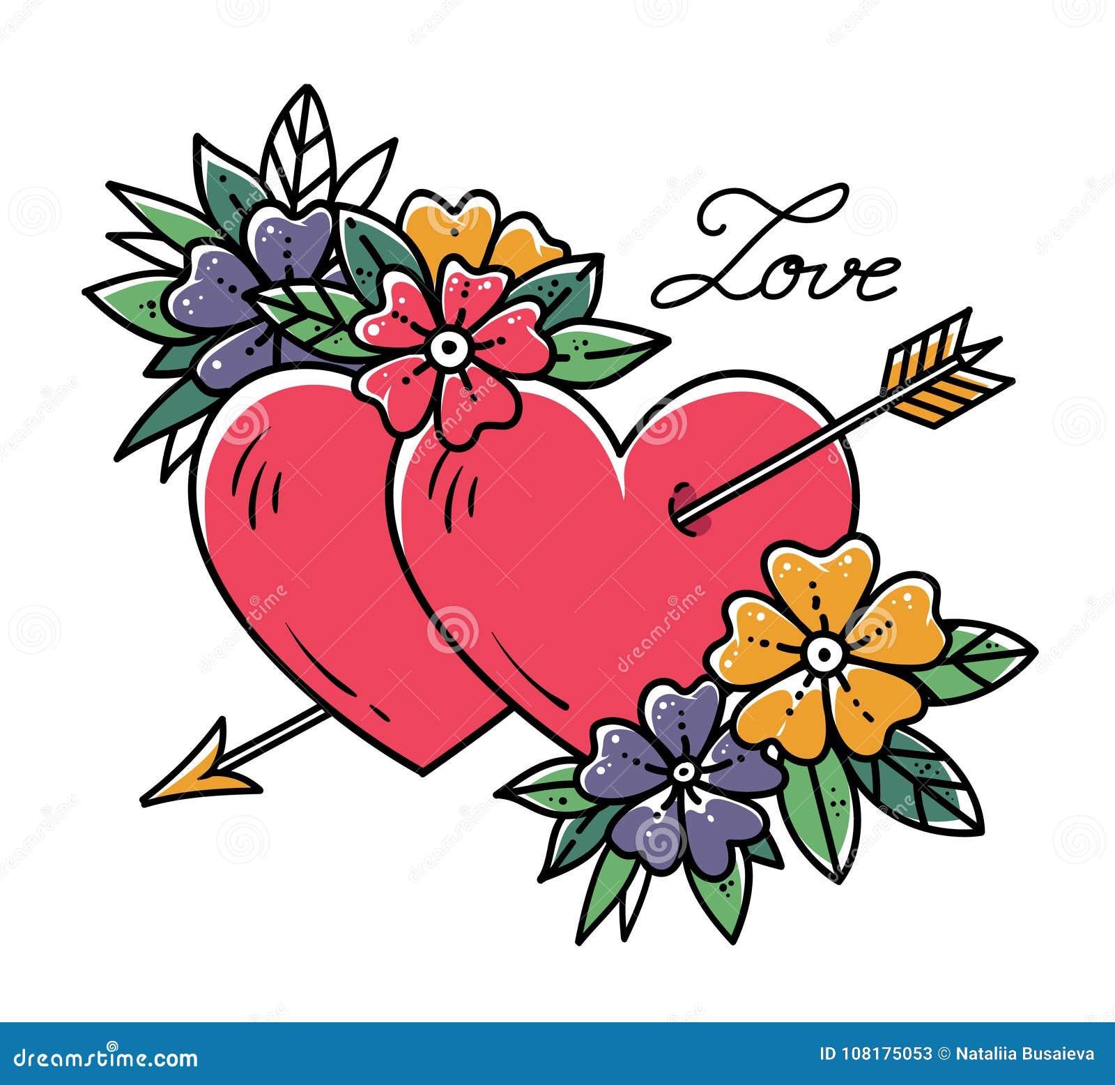 Coeur De Tatouage Avec La Fleche Deux Coeurs Perces Par La Fleche