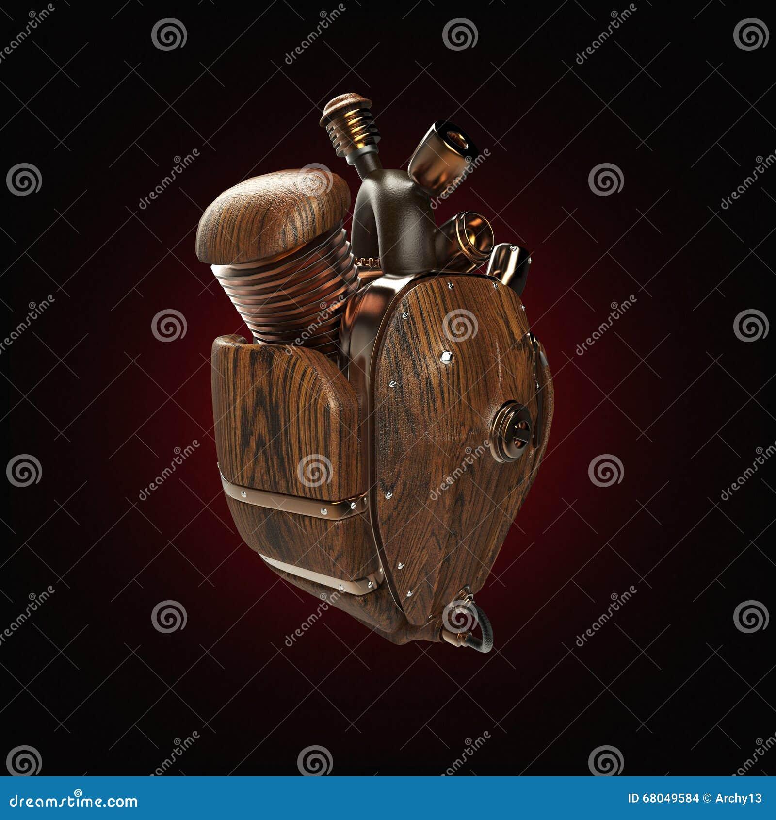 Coeur Steampunk coeur de techno de robot de mecha de steampunk moteur avec des