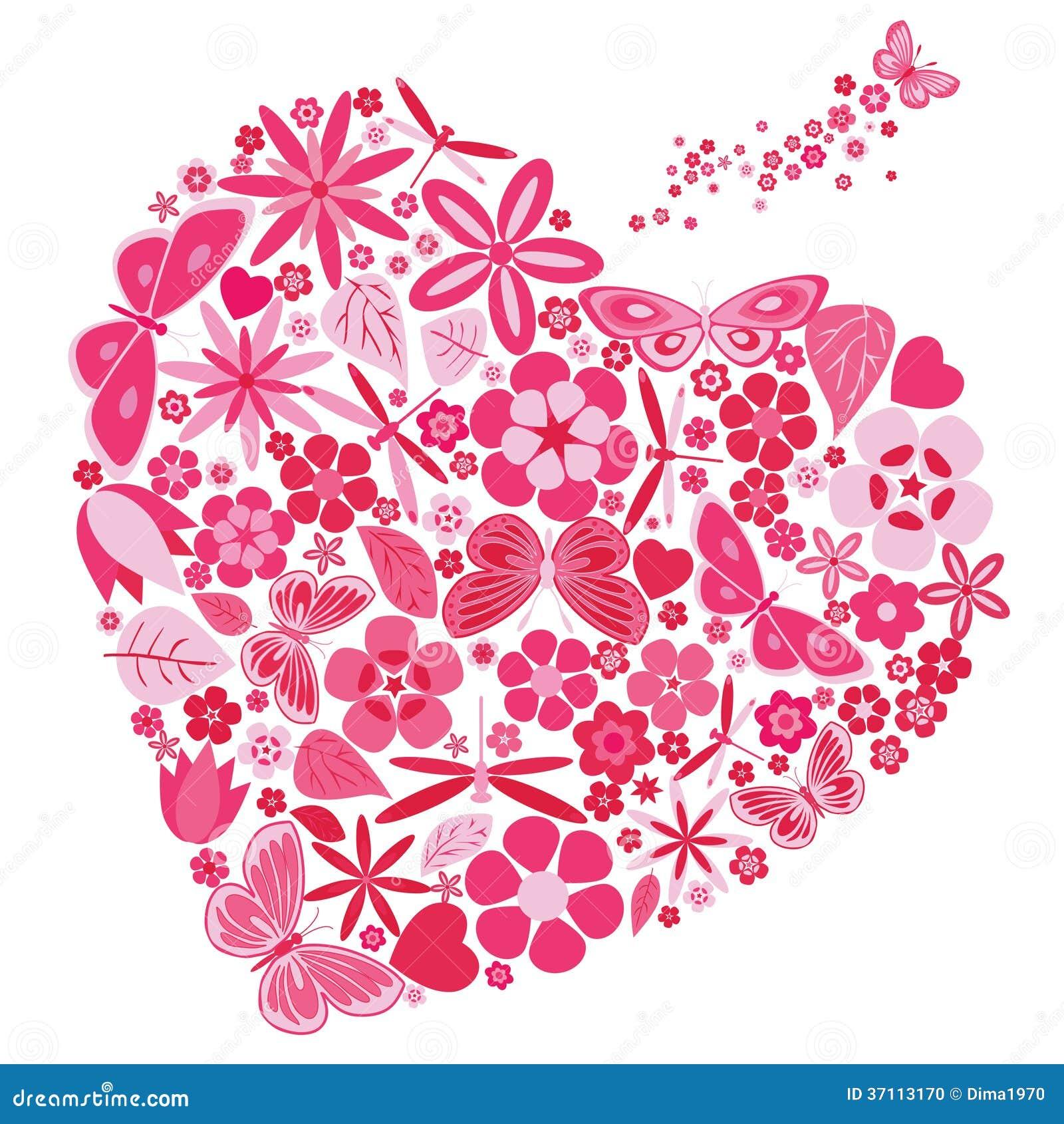 Coeur de vacances avec des fleurs et des papillons photo stock image 37113170 - Coeur avec des fleurs ...