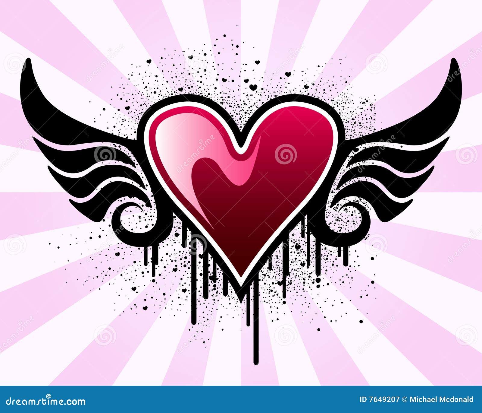Coeur de valentine avec des ailes photographie stock libre de droits image 7649207 - Coeur avec des photos ...