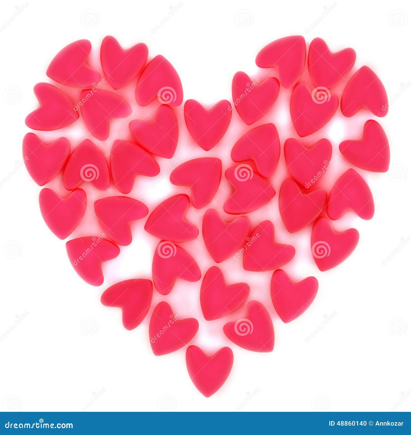 coeur de valentine fait de beaucoup petit coeur rose de velours illustration stock. Black Bedroom Furniture Sets. Home Design Ideas