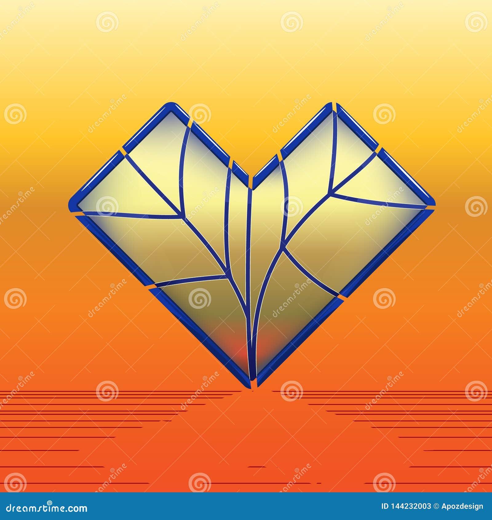 Coeur de verre coloré avec le bordage bleu