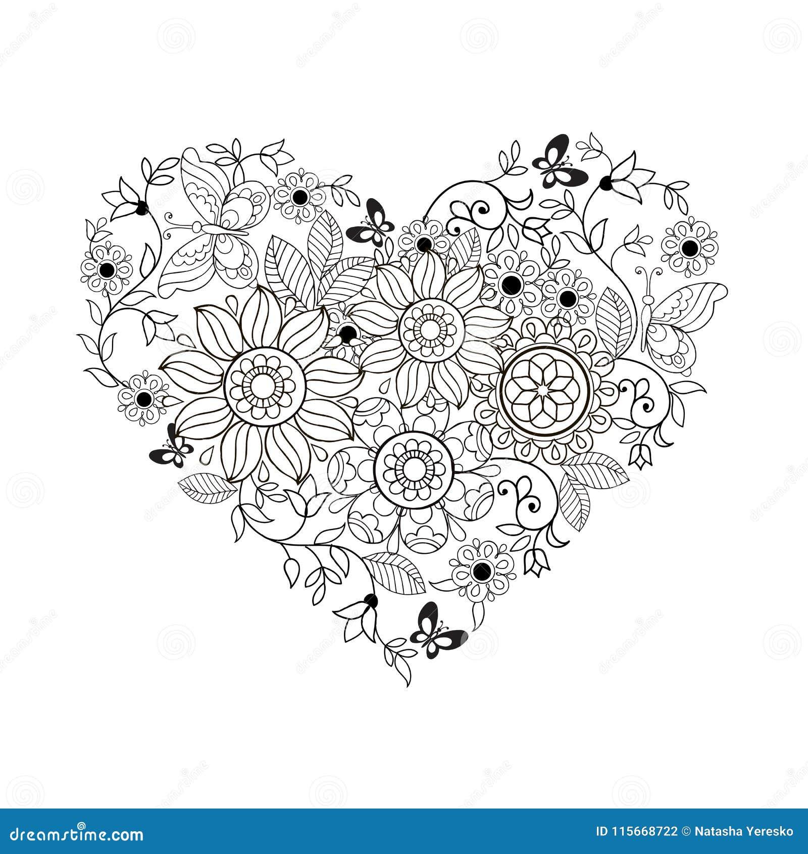 Coloriage Coeur Motif.Coeur Des Fleurs Et Des Papillons Pour Livres De Coloriage