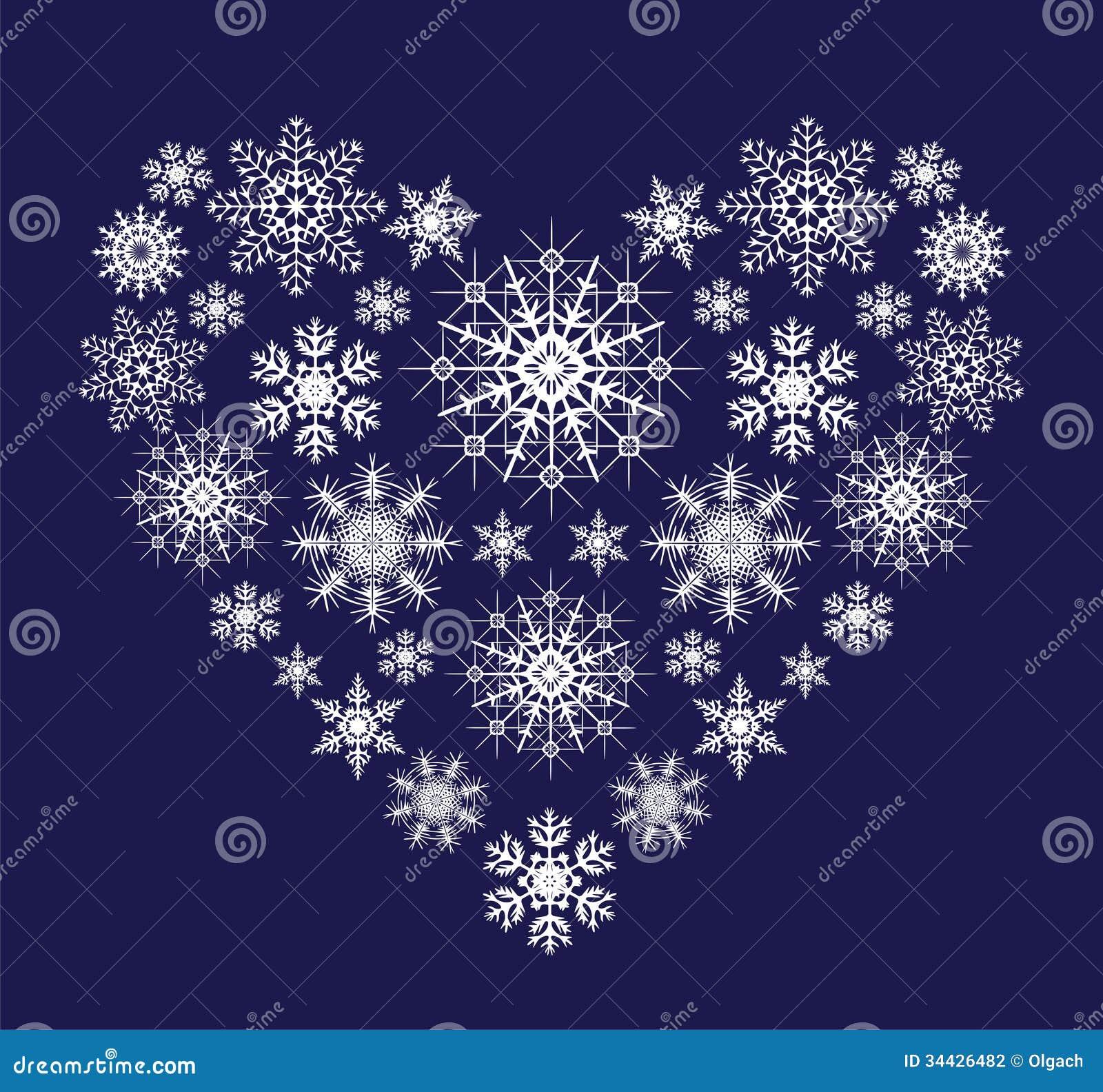 Coeur des flocons de neige photographie stock image - Flocon de neige decoration ...