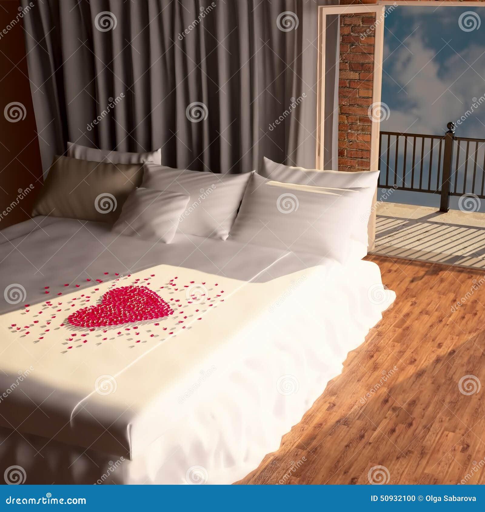 coeur des p tales des roses sur le lit photo stock image 50932100. Black Bedroom Furniture Sets. Home Design Ideas
