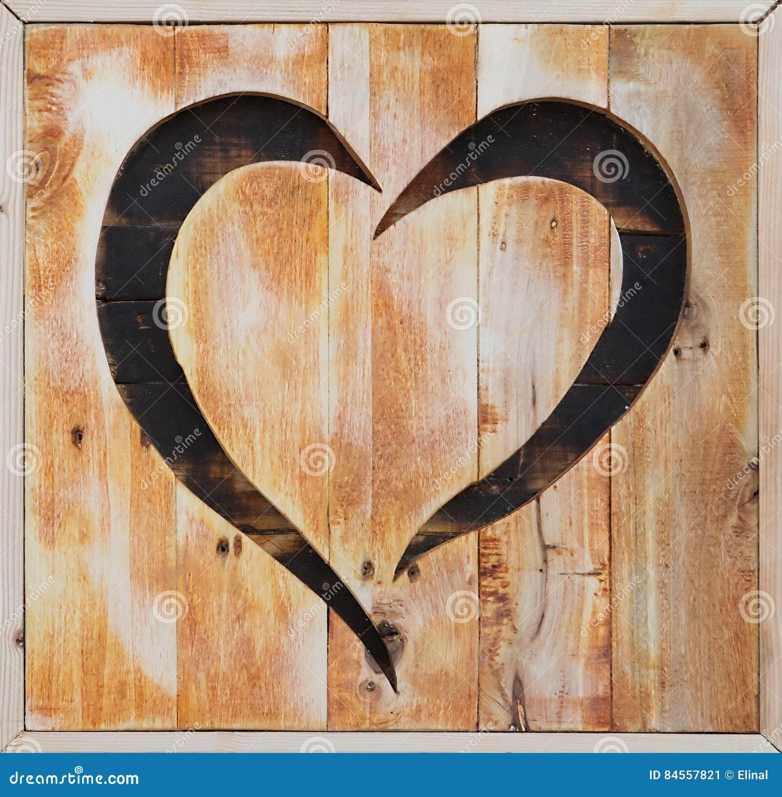 Planche En Bois Deco coeur en bois, décoration de caft de valentine planche image