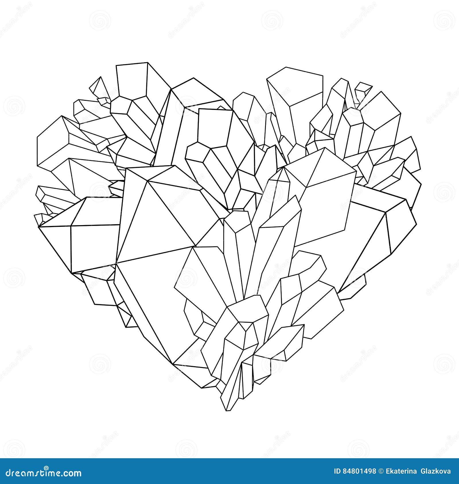 Coeur en cristal graphique illustration de vecteur. Illustration ...