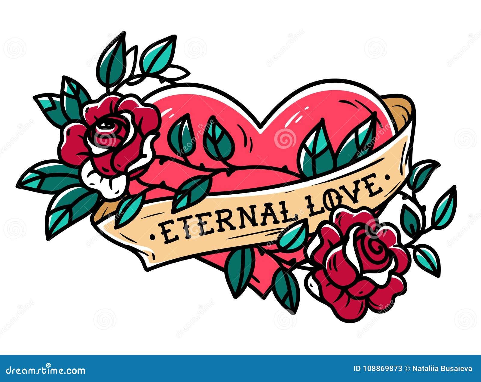 Coeur Enlace Dans Le Tatouage S Elevant De Rose Coeur De Tatouage