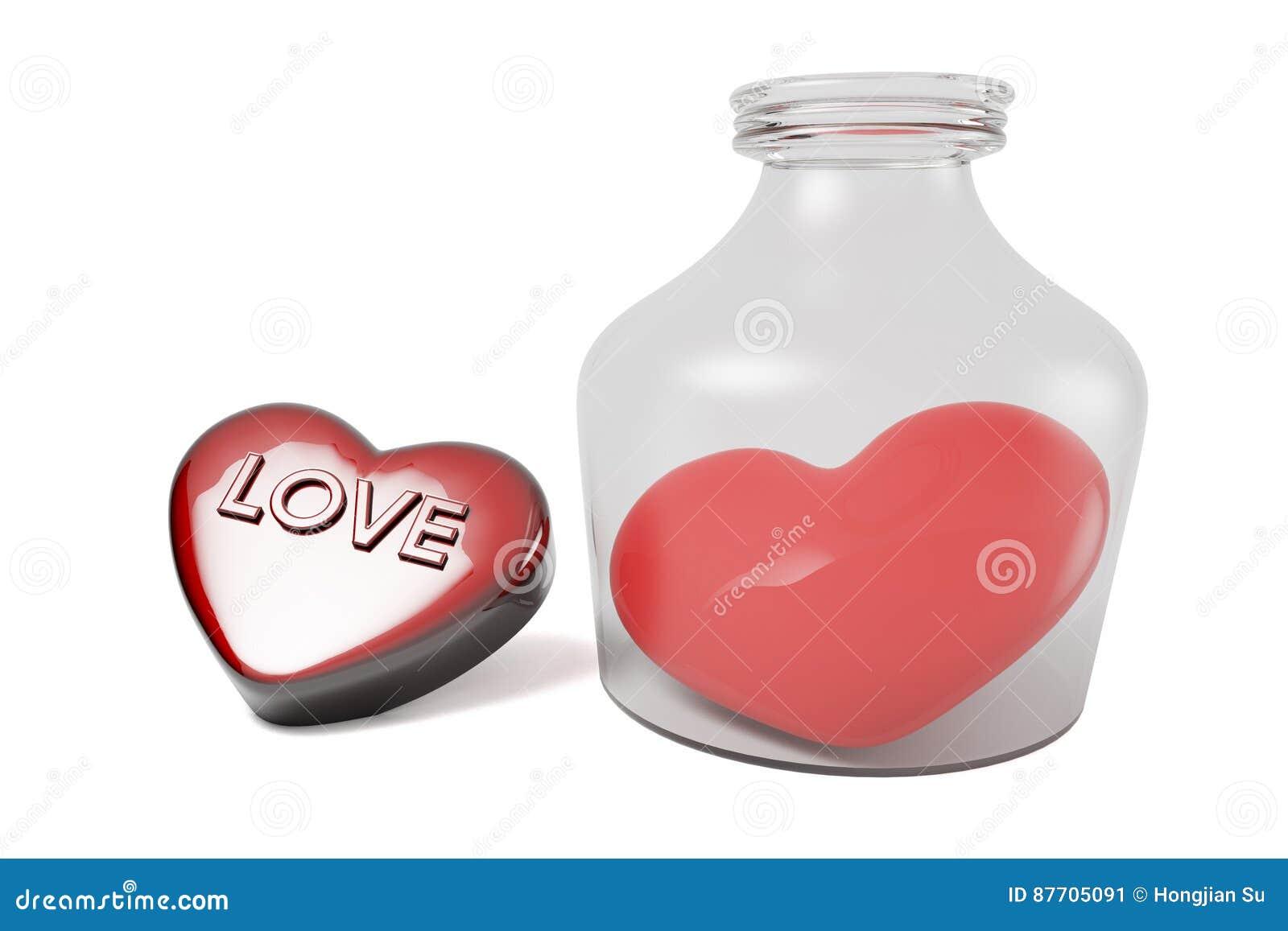 Coeur et bouteille de jour du ` s de Valentine