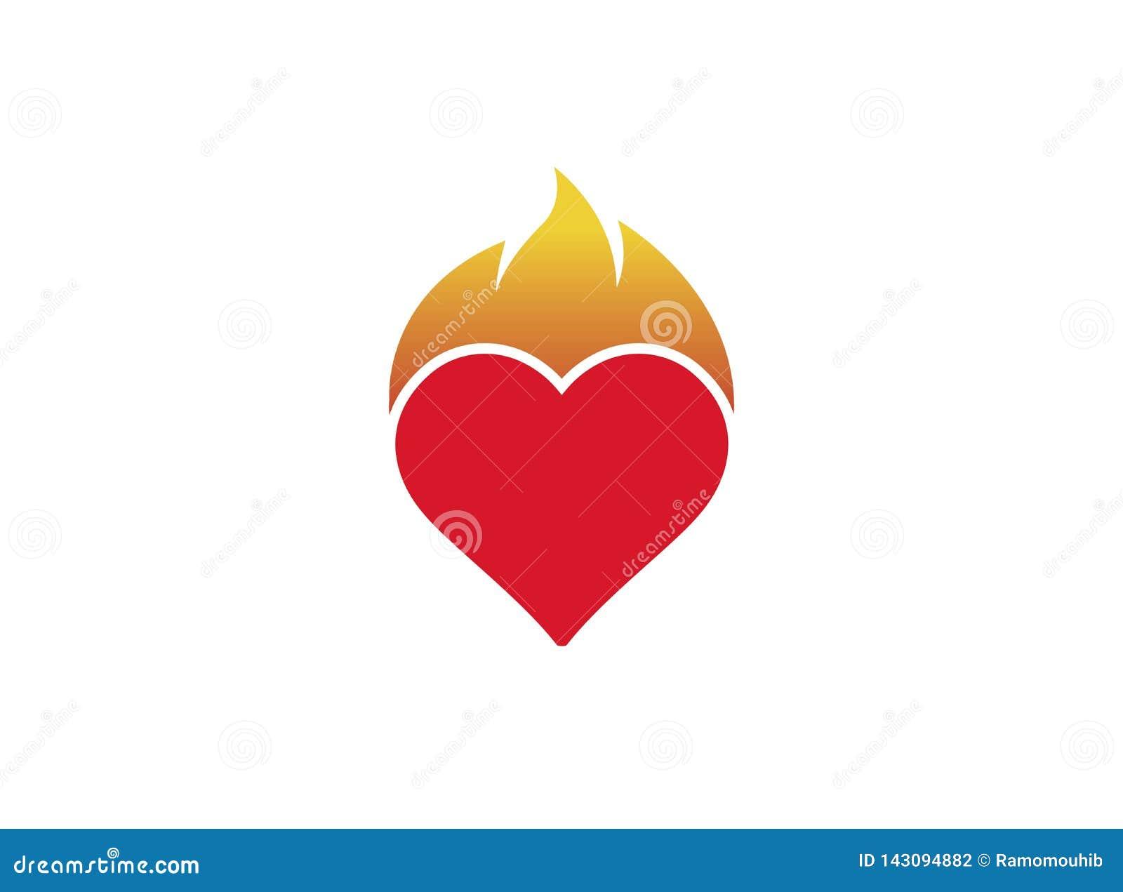 Coeur et feu pour la conception de logo