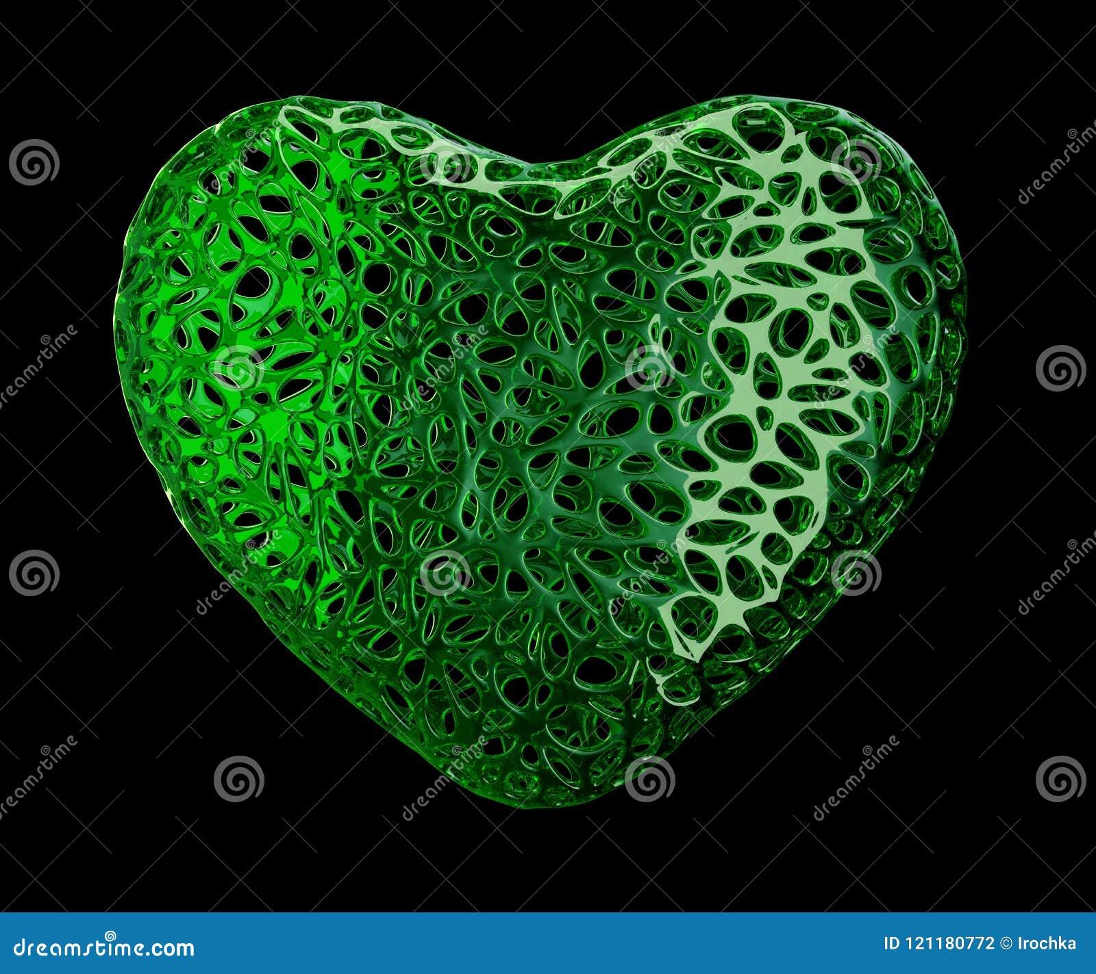 Coeur fait de plastique vert avec les trous abstraits d isolement sur le fond noir 3d