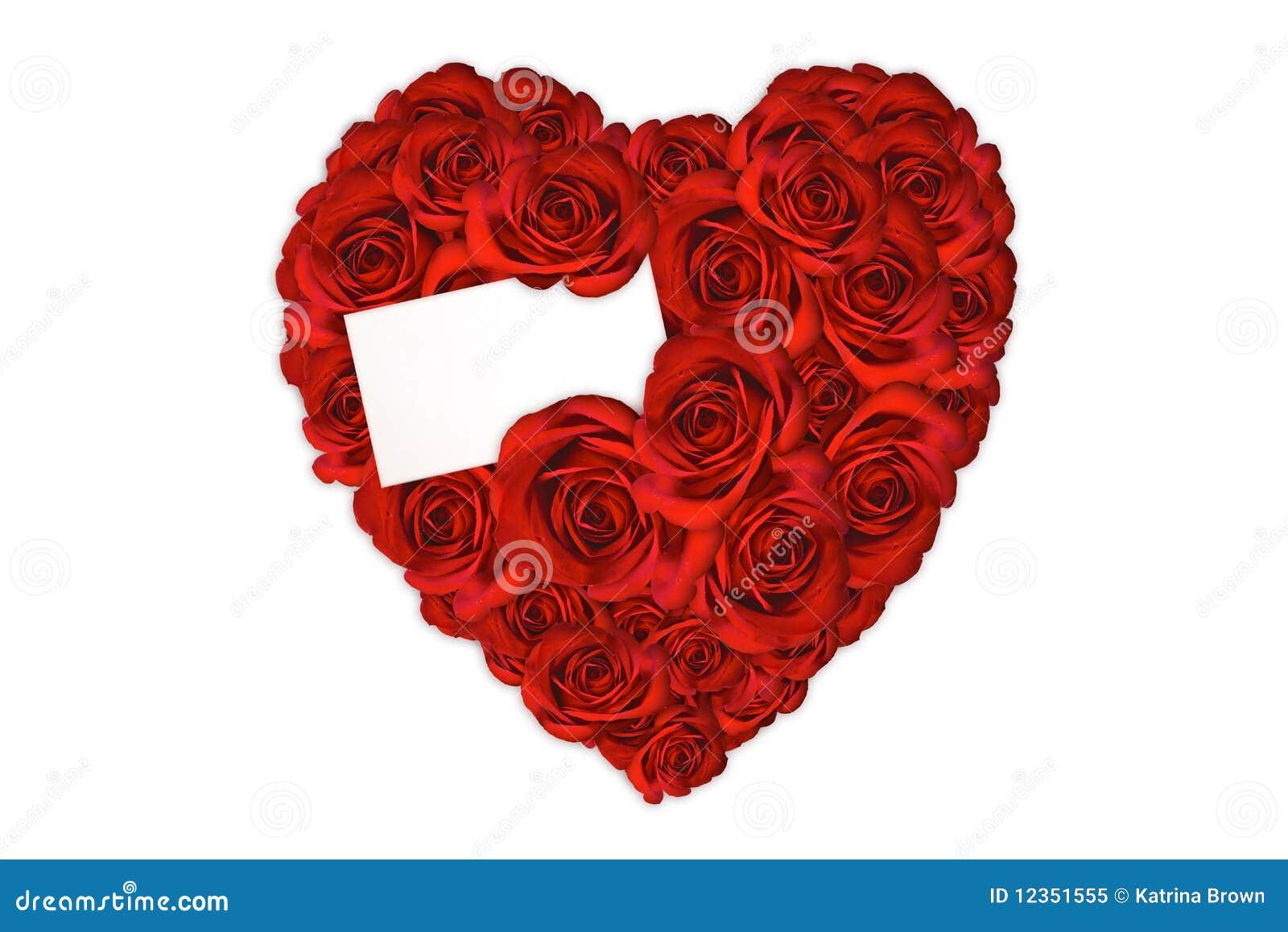 Coeur Fait De Roses Avec La Carte Vierge Pour Un Amour Mes