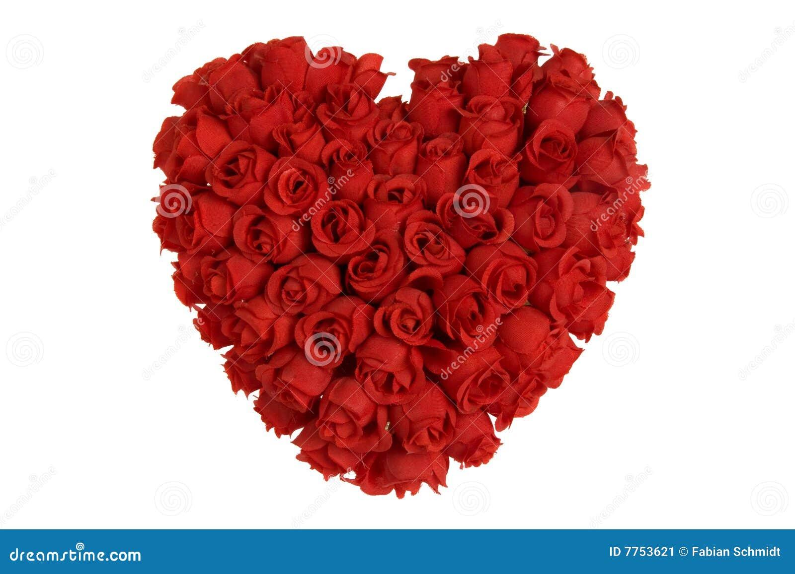 Coeur fait de roses rouges