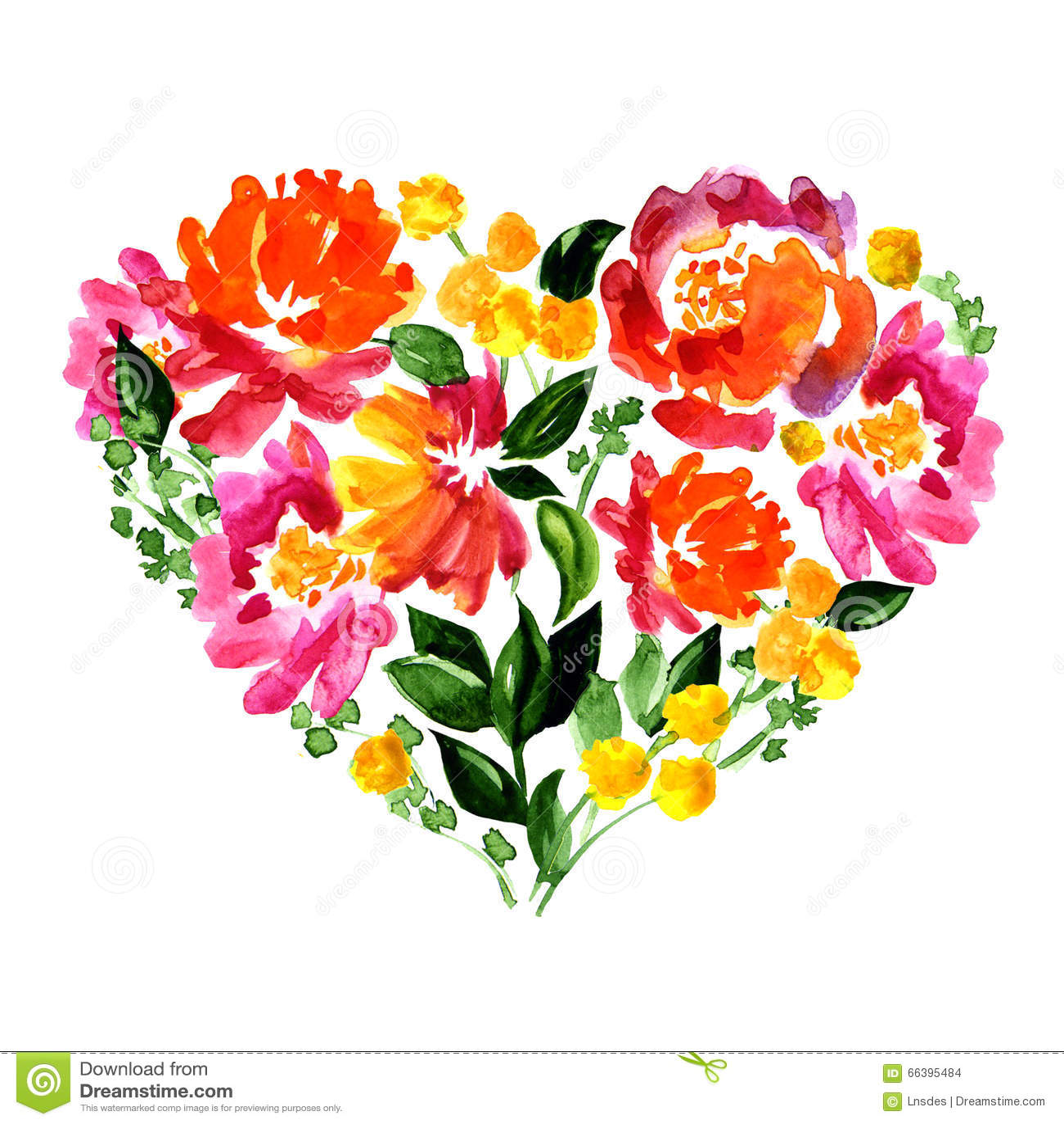 Coeur floral avec des fleurs et des feuilles watercolor illustration stock - Coeur avec des fleurs ...