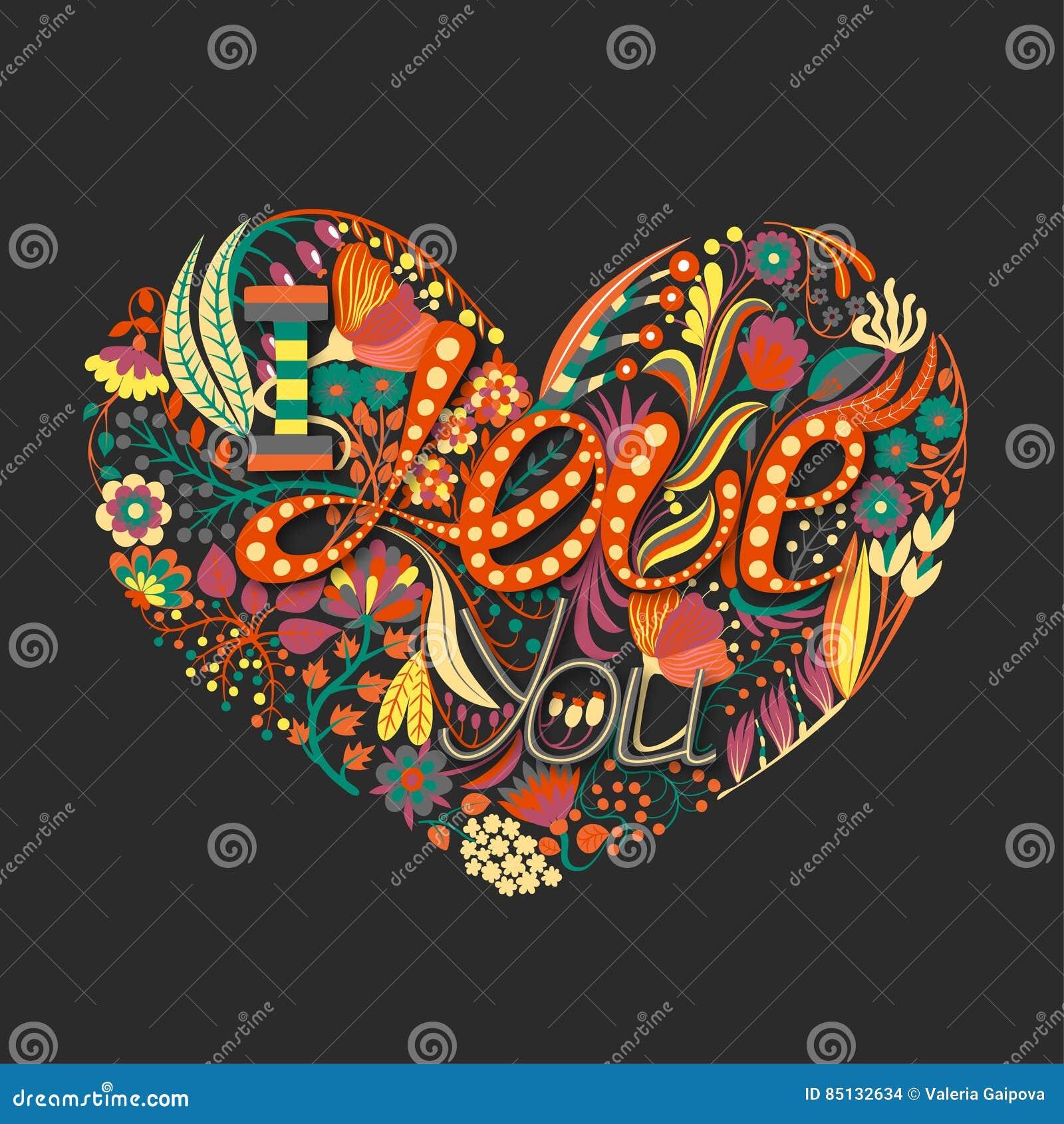 Coeur floral Fleur créative tirée par la main Fond de salutation le jour du ` s de Valentine Régal de l amour vacances