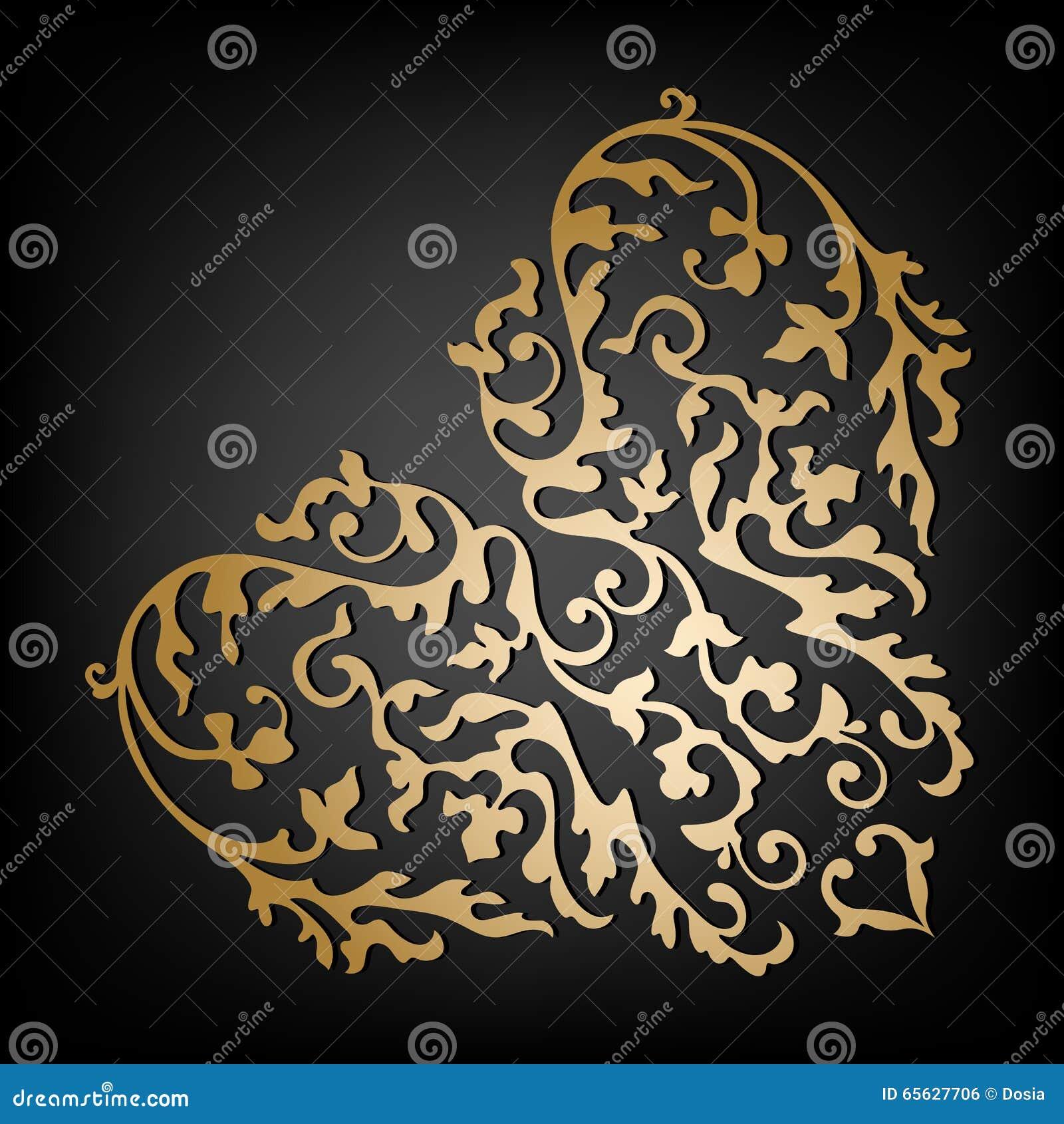 Coeur floral ornemental de vecteur Type de cru