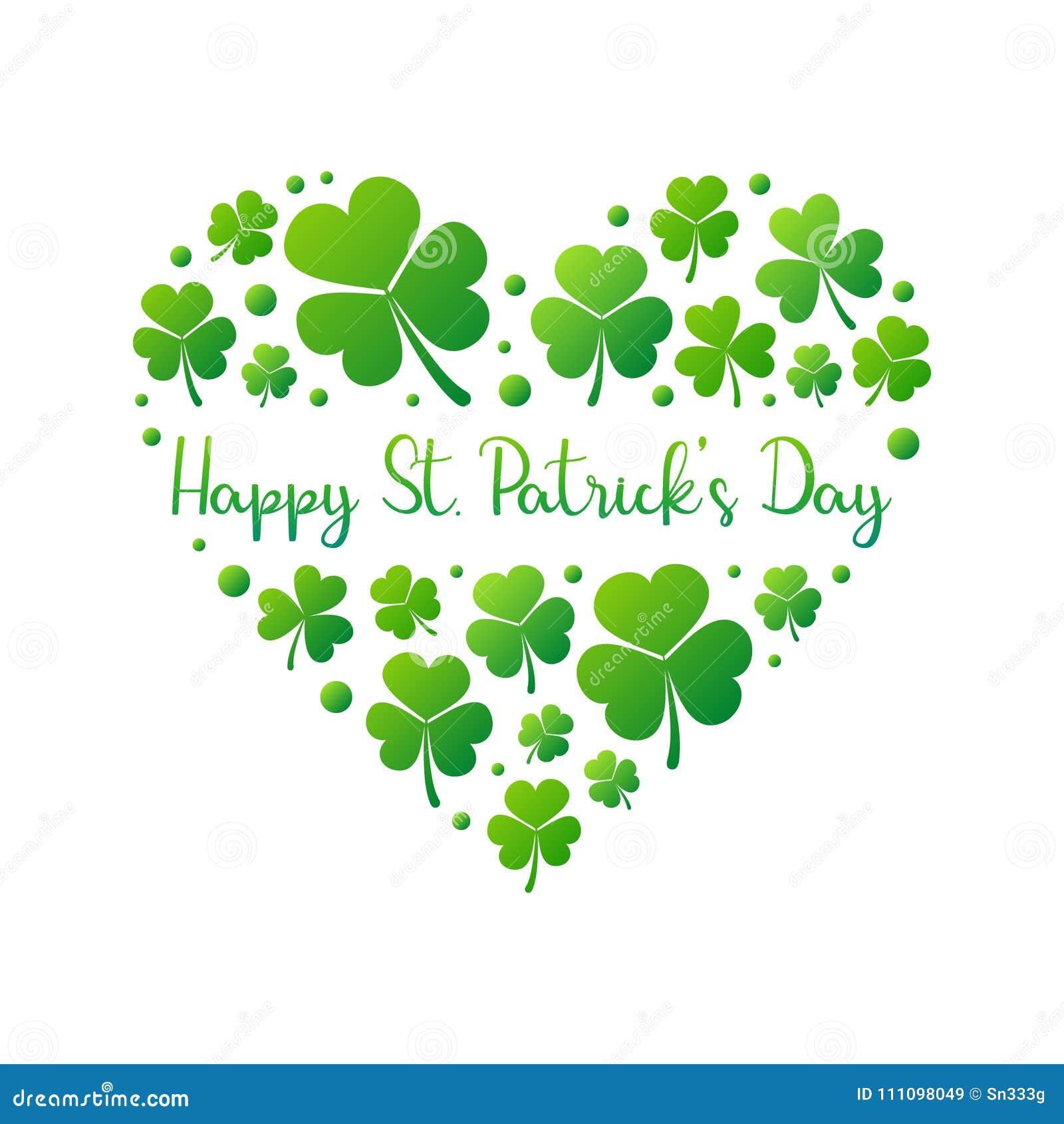 Coeur heureux de vecteur de jour de St Patricks sur le fond blanc