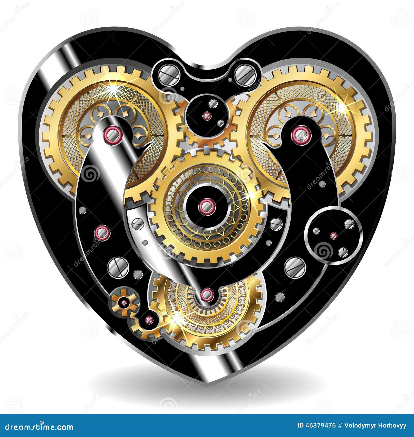 Coeur Steampunk coeur mécanique de steampunk illustration de vecteur - illustration