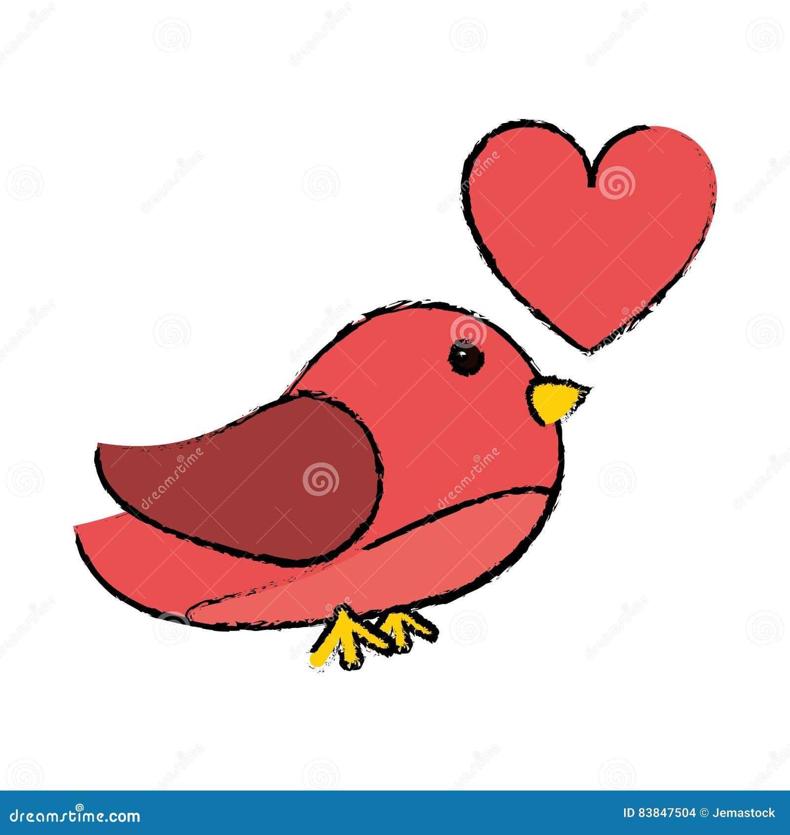 Coeur Mignon Rose De Dessin D Oiseau Illustration De Vecteur