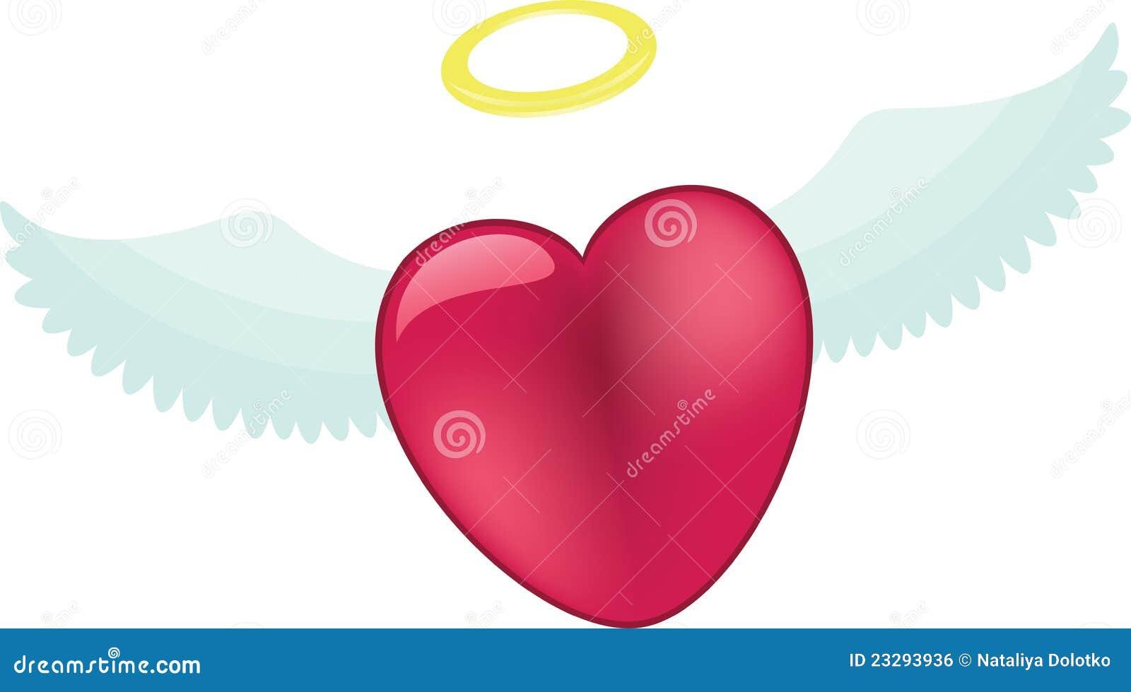 Coeur rose avec des ailes d 39 ange illustration de vecteur illustration du dessin amour 23293936 - Coeur avec des photos ...