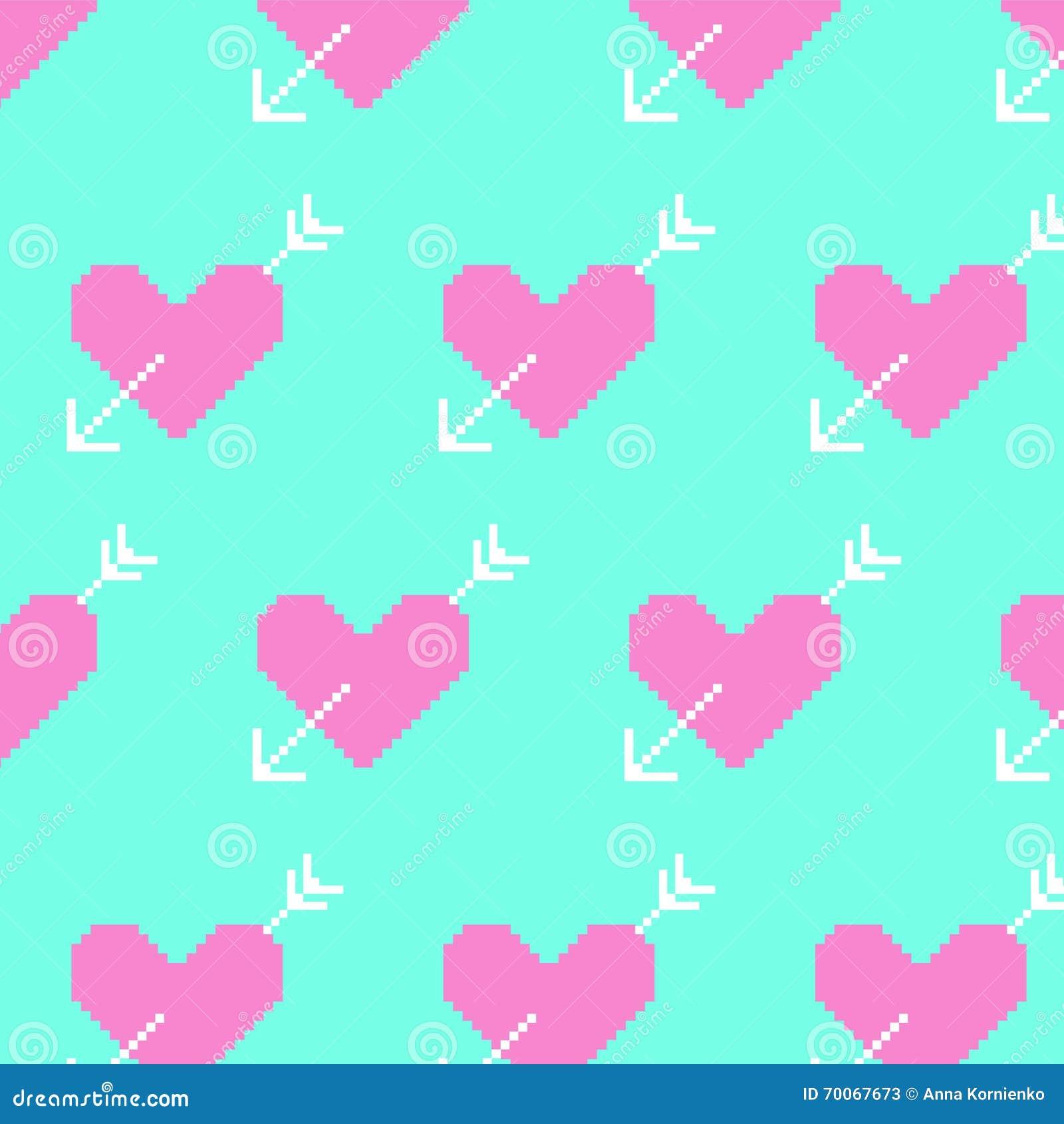 Coeur Rose Et Flèches Blanches Sur Le Fond Bleu Pixel Art