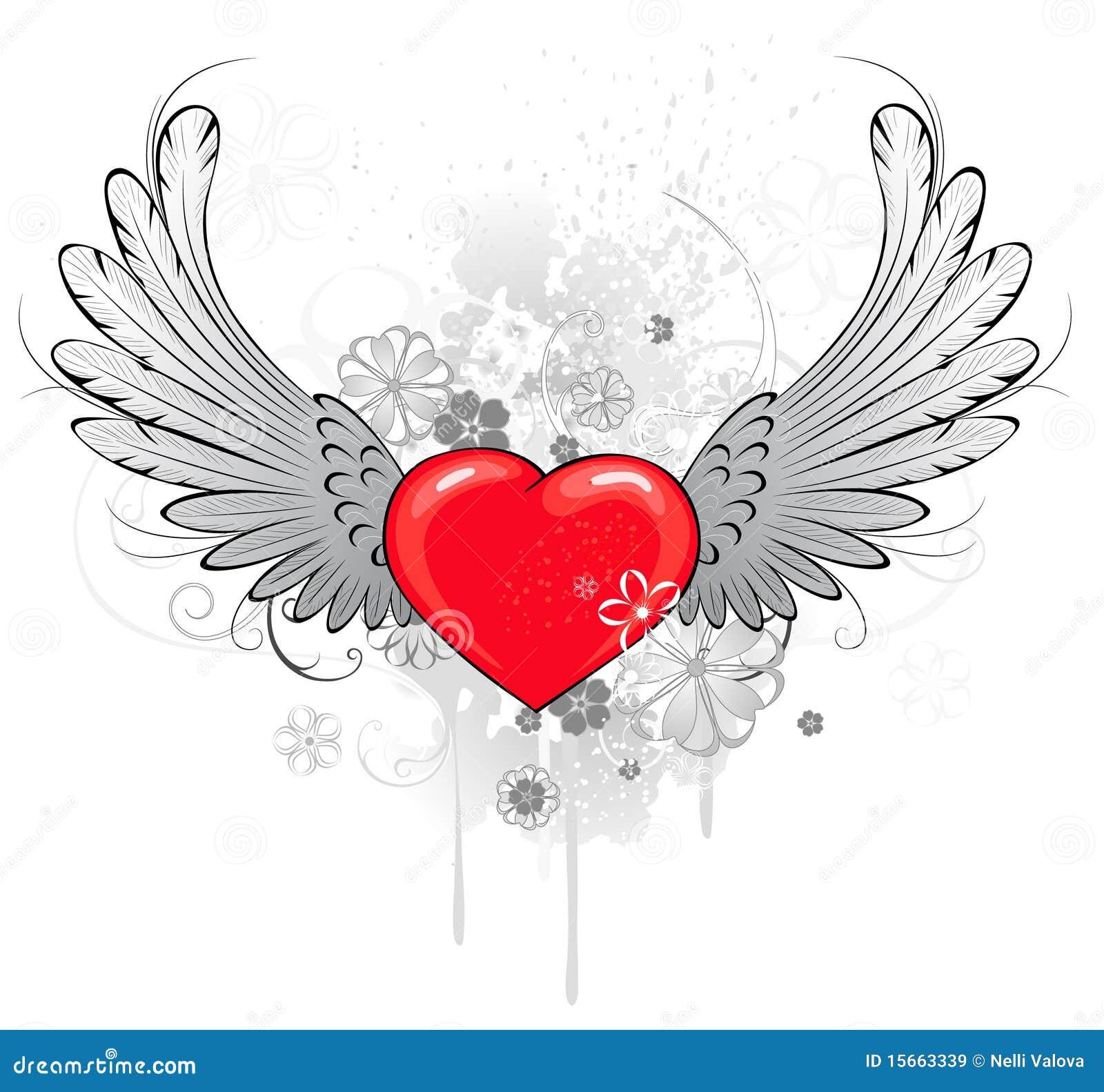 Coeur rouge avec des ailes images libres de droits image 15663339 - Coeur avec des photos ...