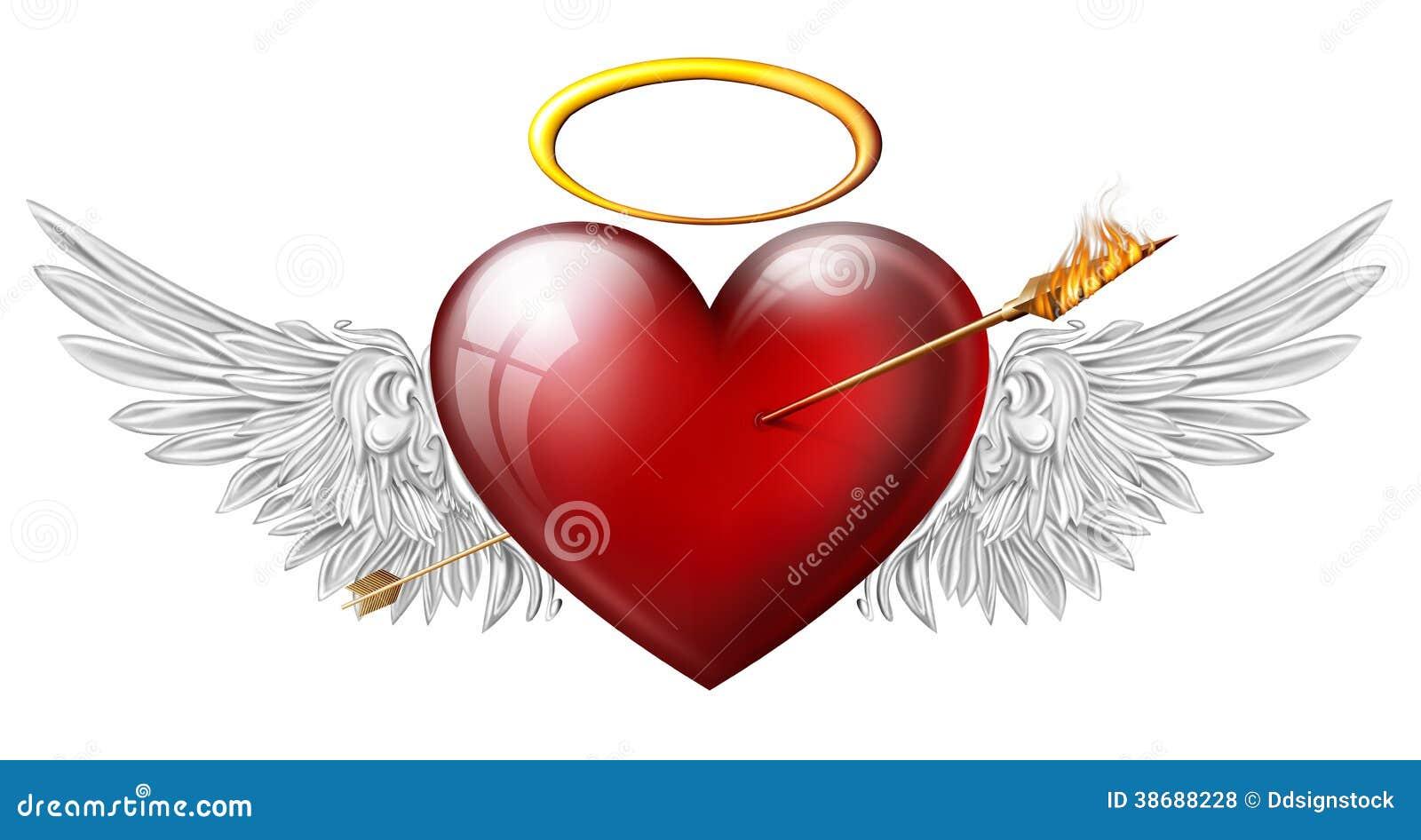 Coeur rouge avec des ailes d 39 ange illustration stock illustration du isolement mariage 38688228 - Coeur avec des photos ...