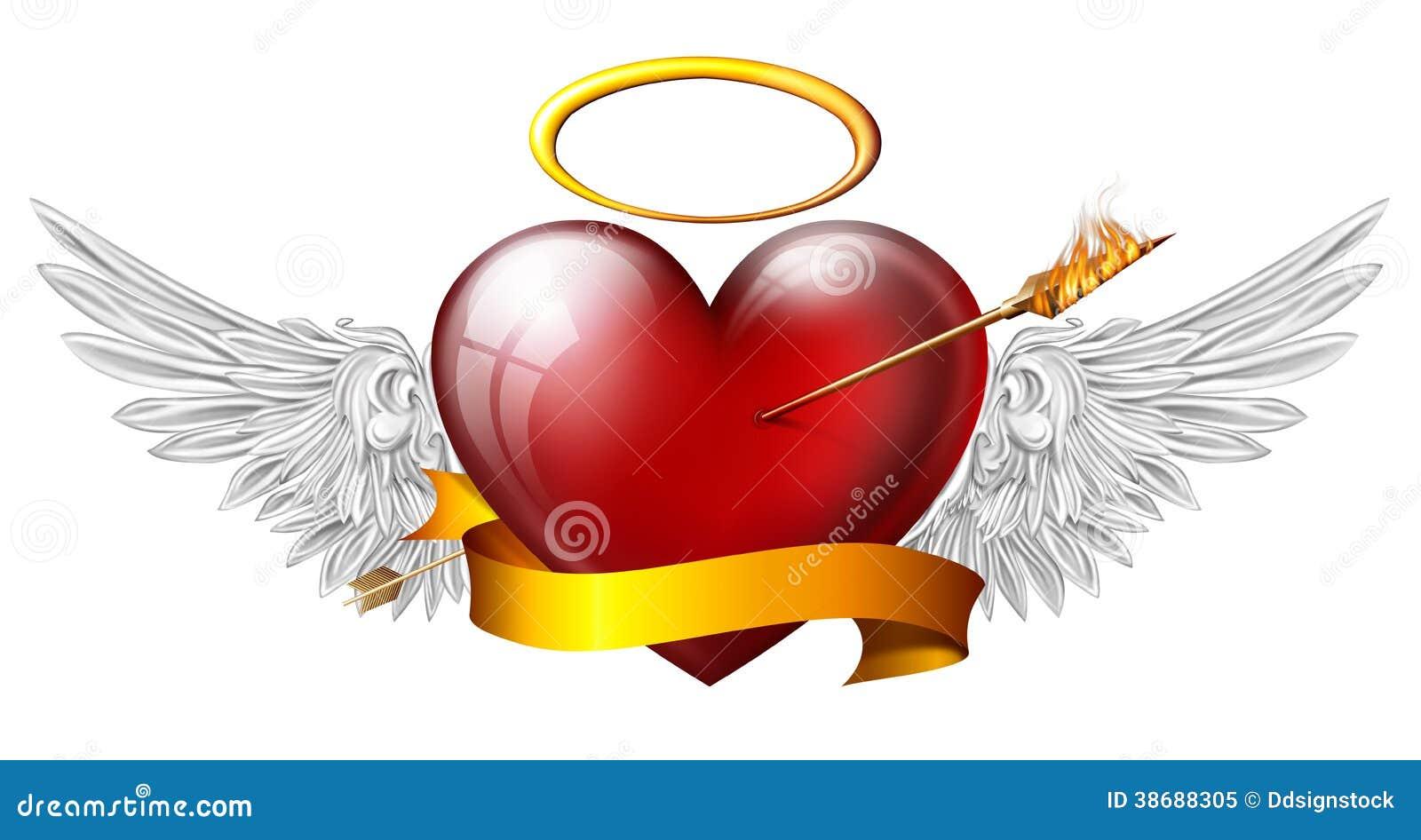 Coeur rouge avec des ailes d 39 ange photo libre de droits - Dessin de coeur avec des ailes ...