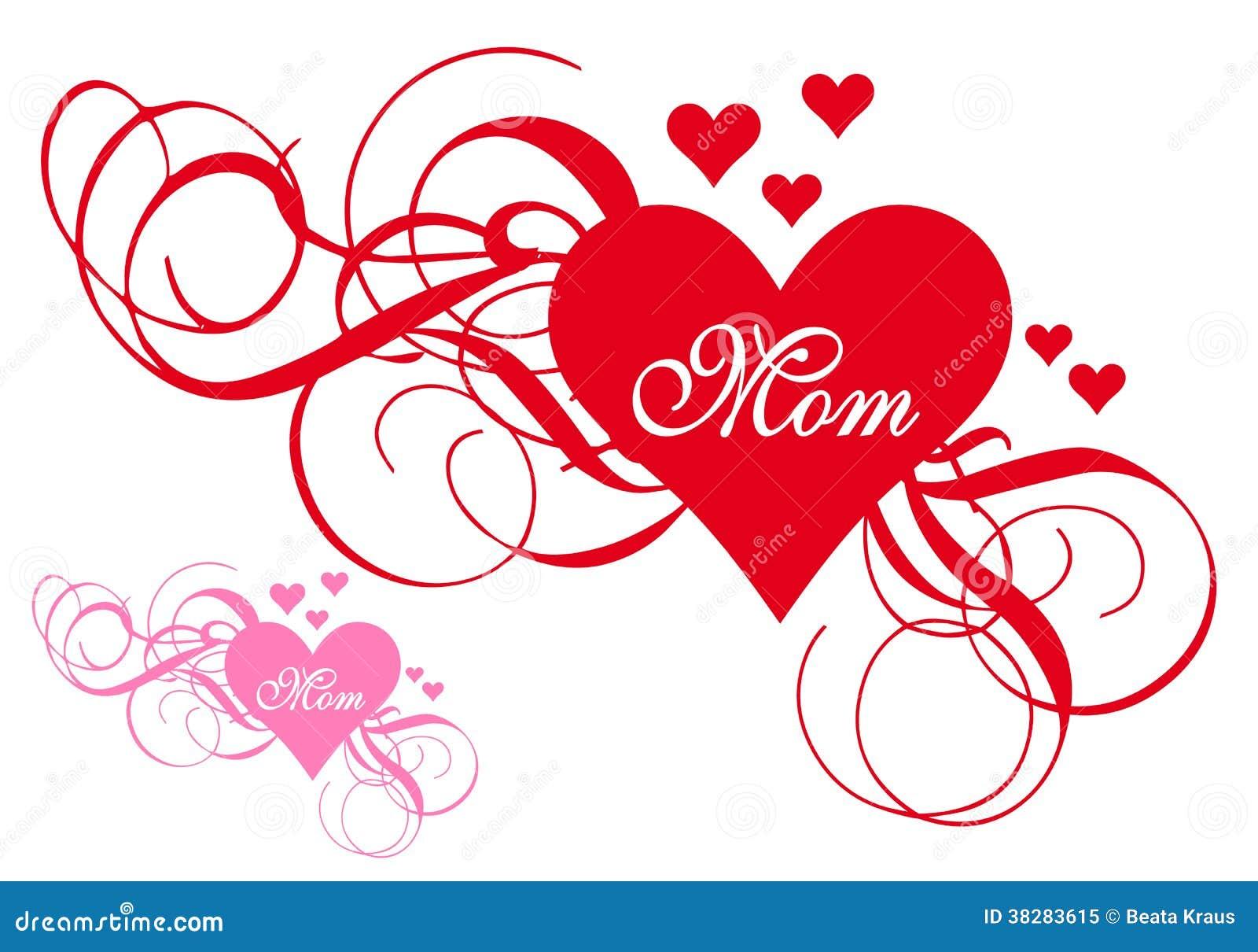 Coeur rouge avec des remous, carte de jour de mères