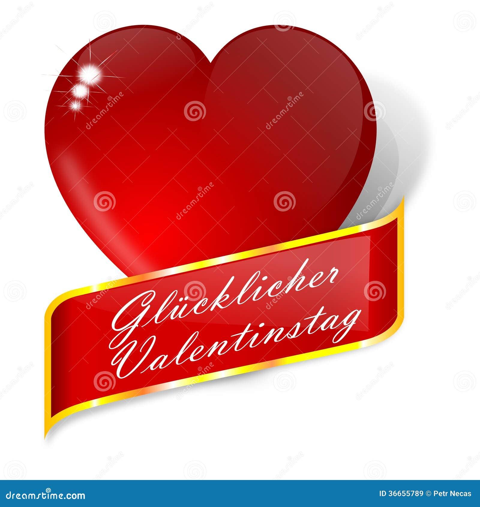 Coeur rouge avec des souhaits pour la saint valentin allemand illustration stock - Coeur pour la saint valentin ...