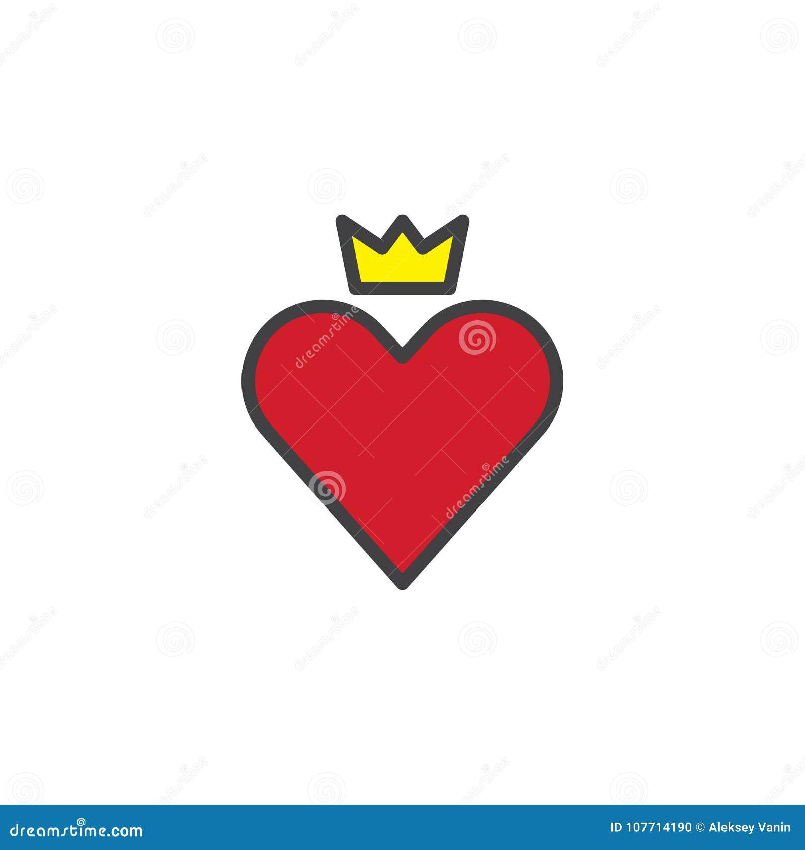 Coeur Rouge Avec L Icone Remplie Par Couronne D Ensemble Illustration De Vecteur Illustration Du Coeur Ensemble 107714190