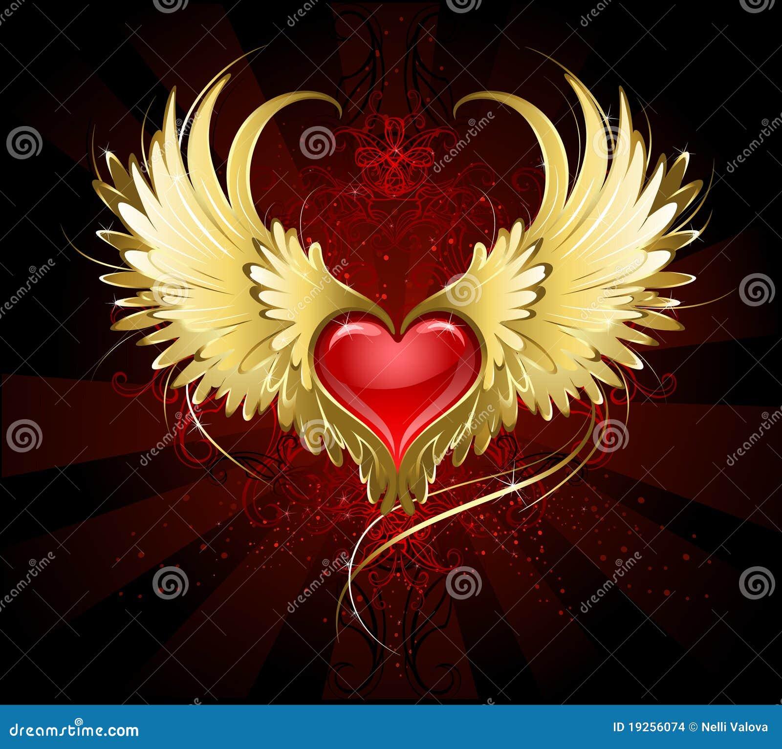 Coeur rouge avec les ailes d 39 or illustration de vecteur - Dessin de coeur avec des ailes ...