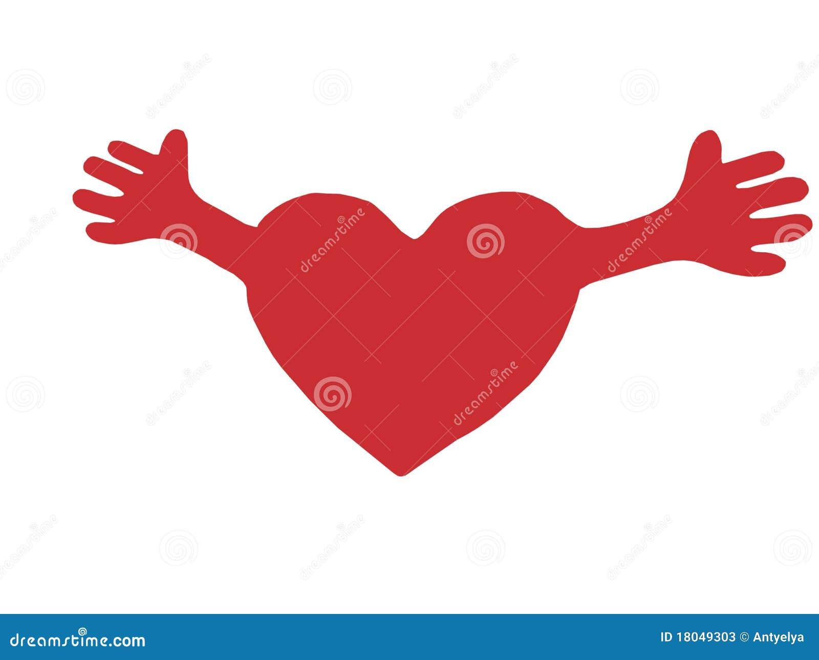 Coeur Rouge Avec Les Bras Ouverts Image Stock Image Du Gentillesse Amiti 233 18049303