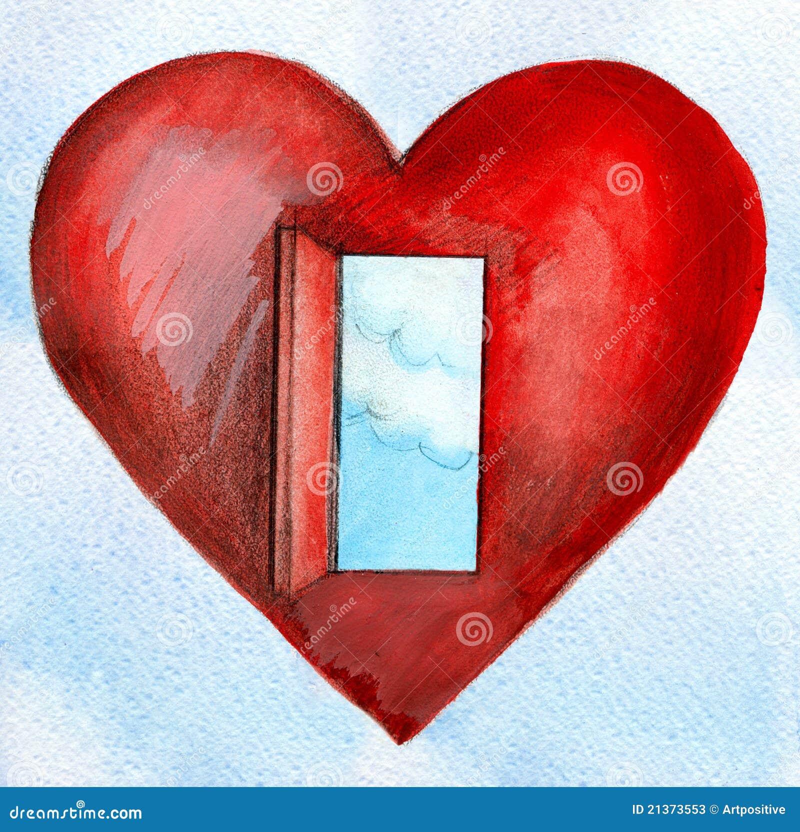 Coeur rouge avec un ciel bleu et des nuages de porte for Porte ouverte dessin