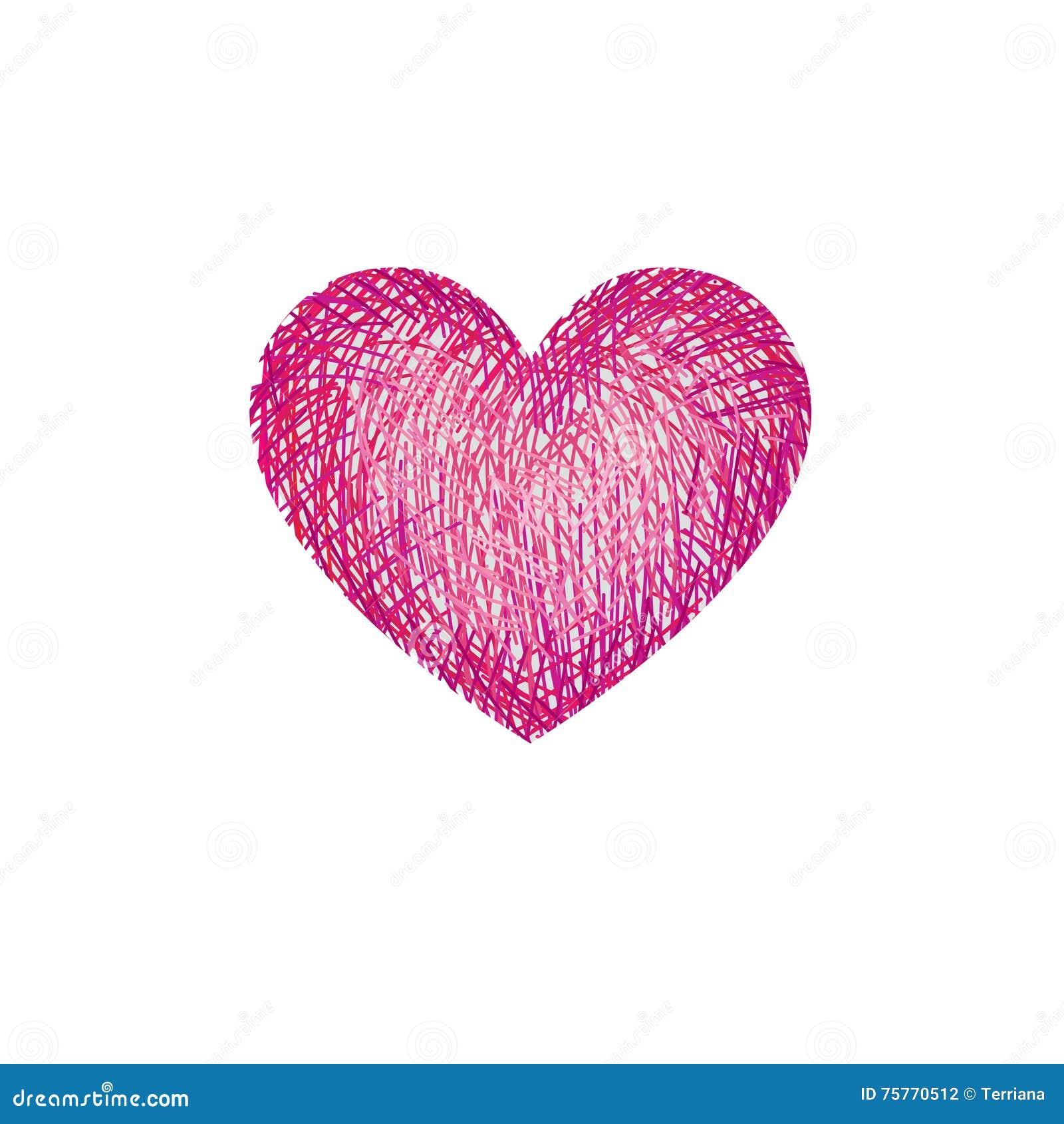 coeur rouge d 39 amour de dessin au crayon d 39 isolement au. Black Bedroom Furniture Sets. Home Design Ideas