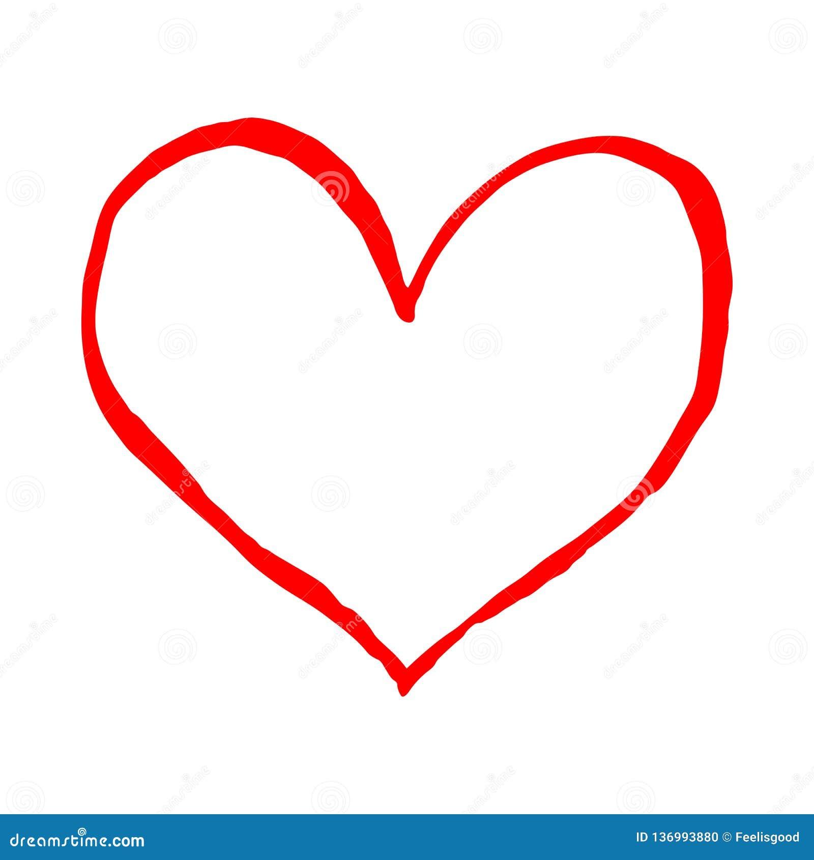 Coeur Rouge D Isolement Sur Le Fond Blanc Le Dessin De Croquis A
