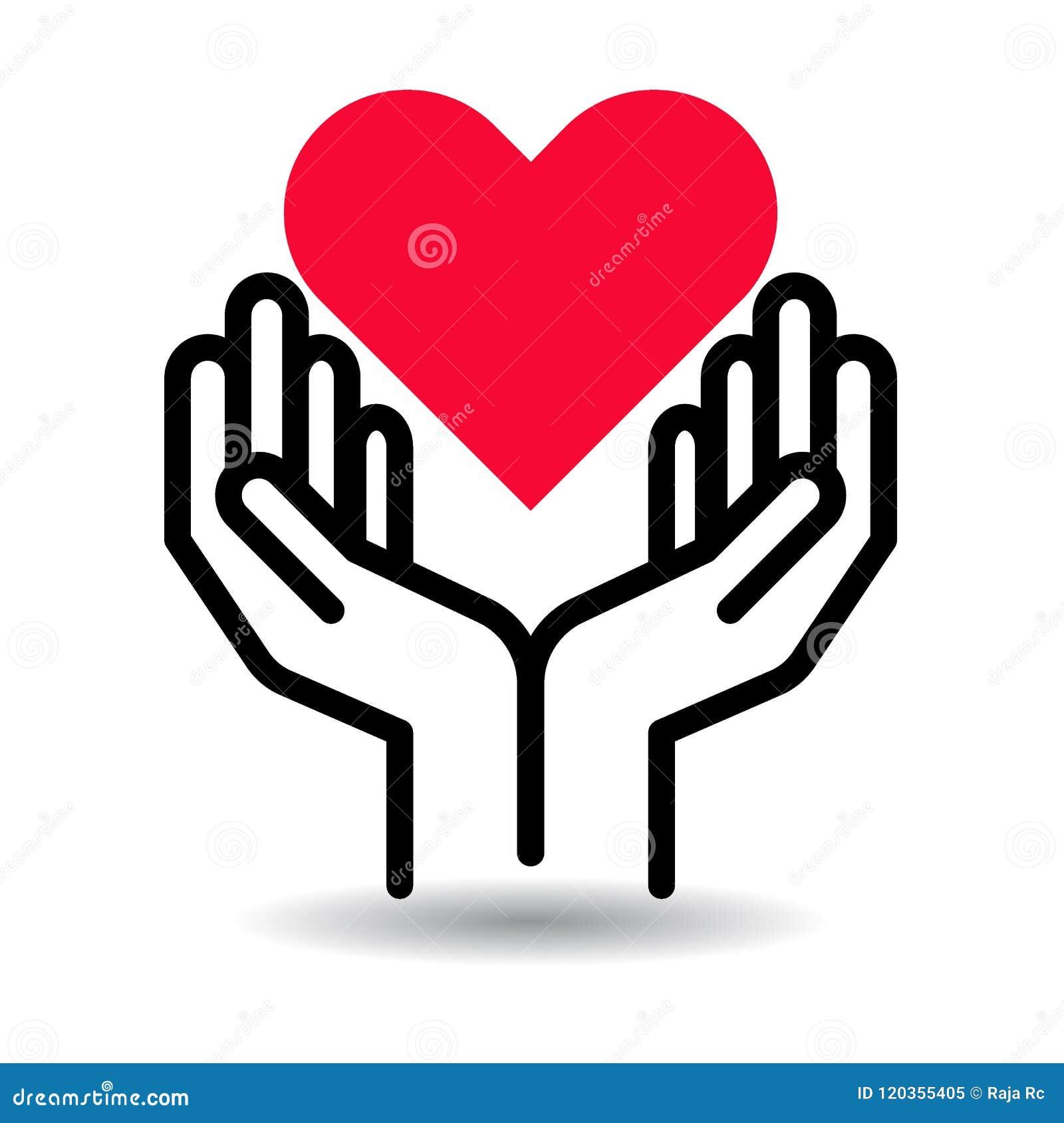 Coeur rouge dans l icône de mains