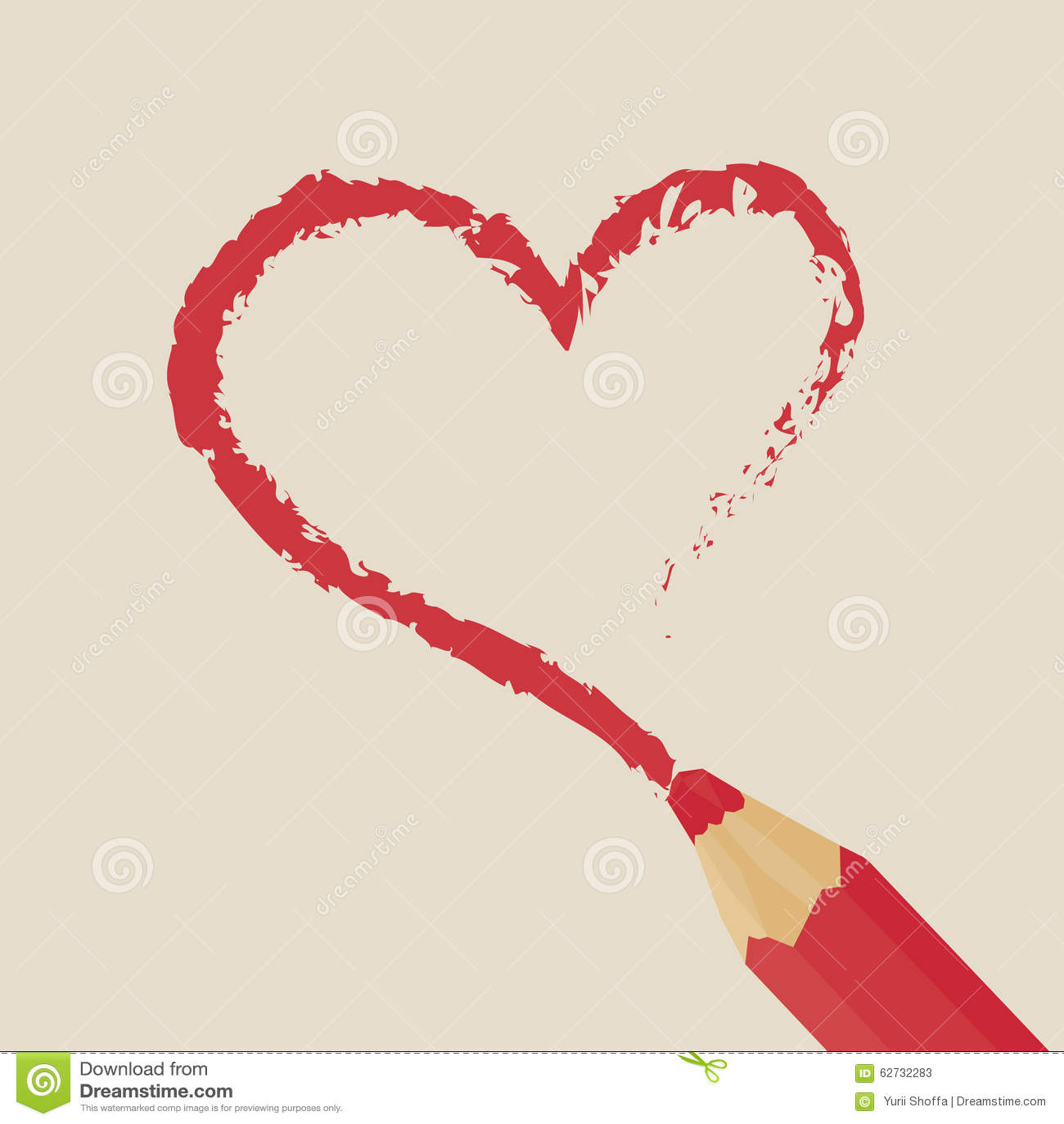 Coeur rouge de dessin au crayon illustration stock image - Coeur en dessin ...
