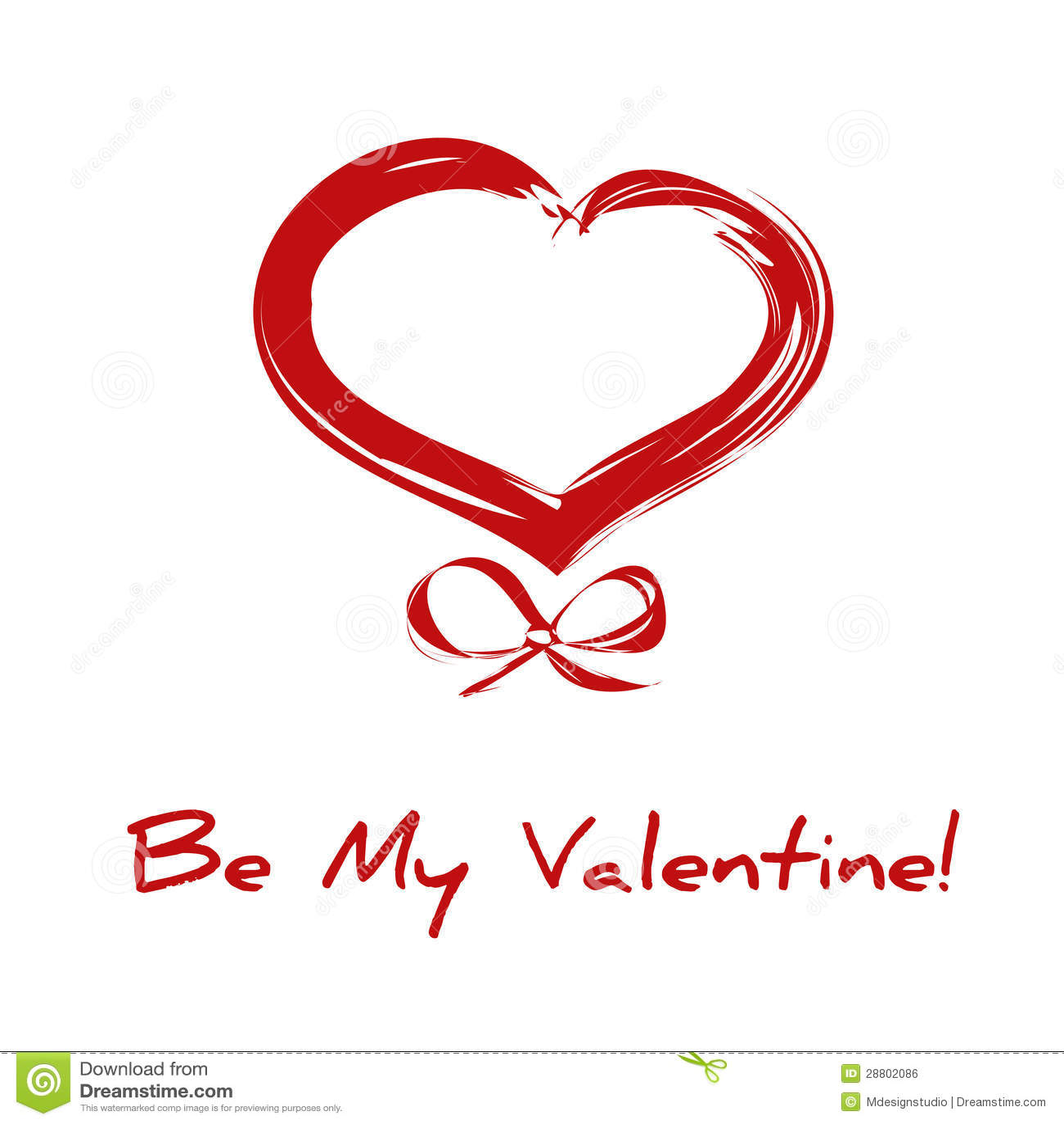 coeur rouge de dessin de valentine avec la bande. Black Bedroom Furniture Sets. Home Design Ideas
