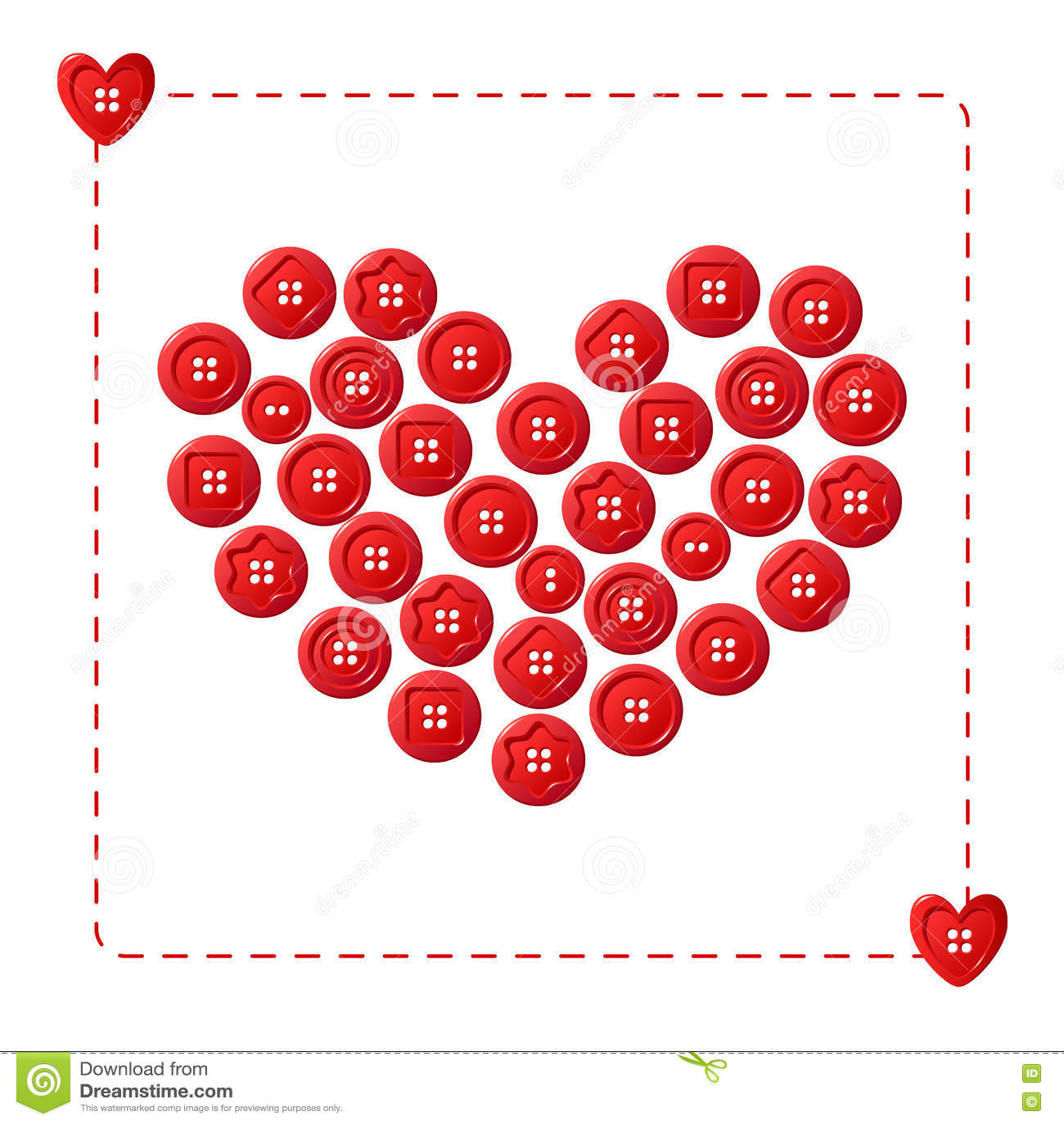 Coeur rouge des boutons