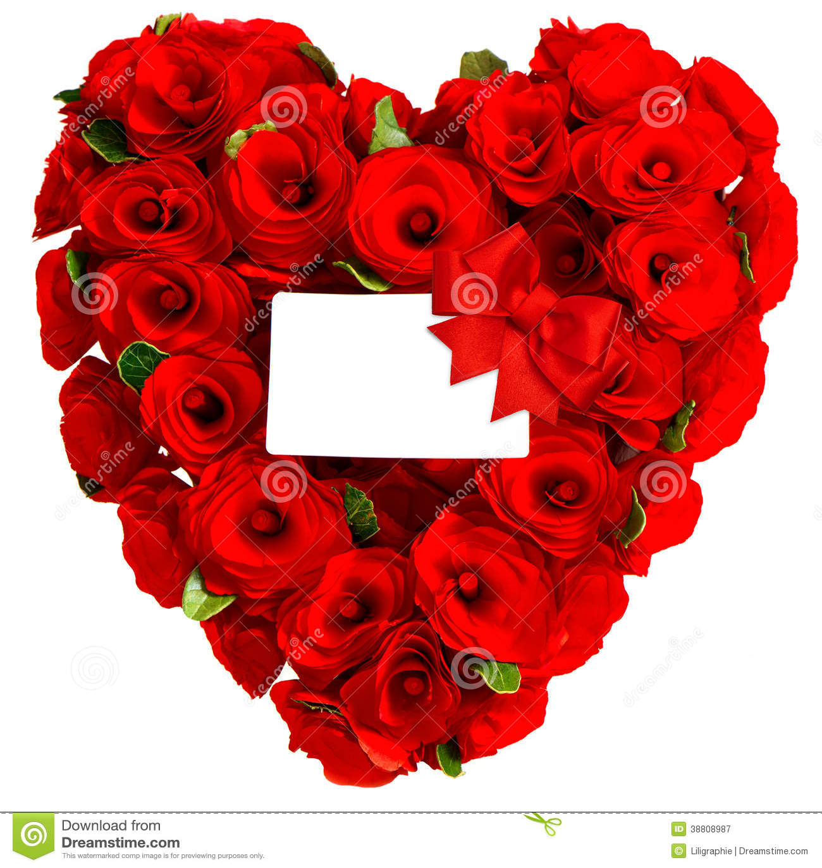 Coeur rouge des fleurs roses avec la carte blanche photo stock image 38808987 - Coeur avec des fleurs ...