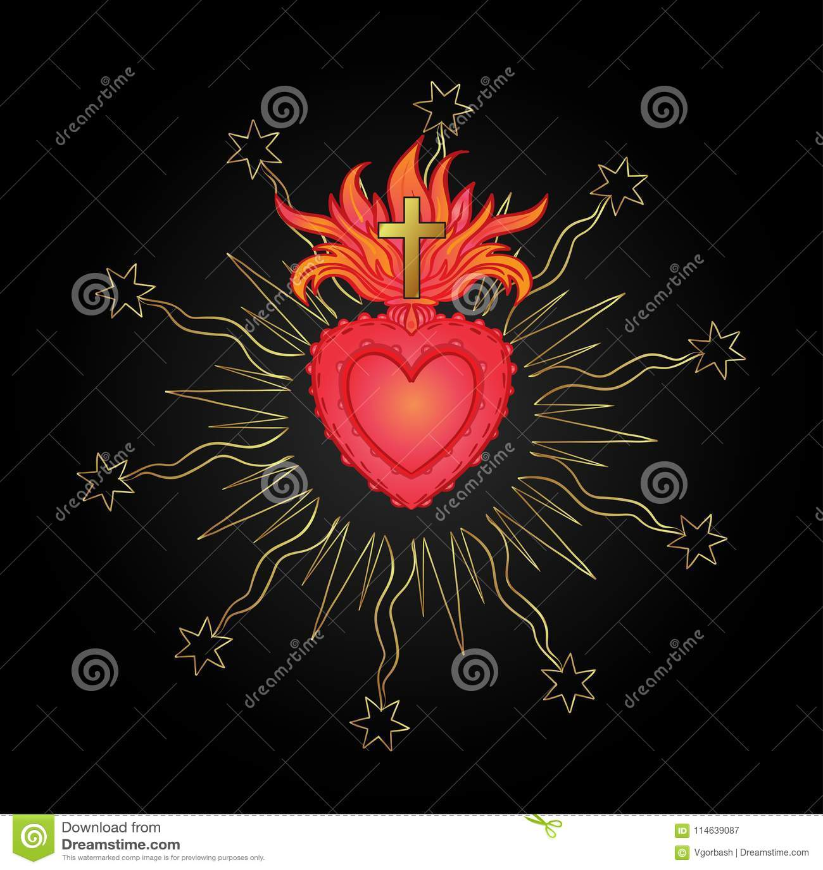 Coeur sacré de Jésus avec des rayons Illustration de vecteur en rouge et