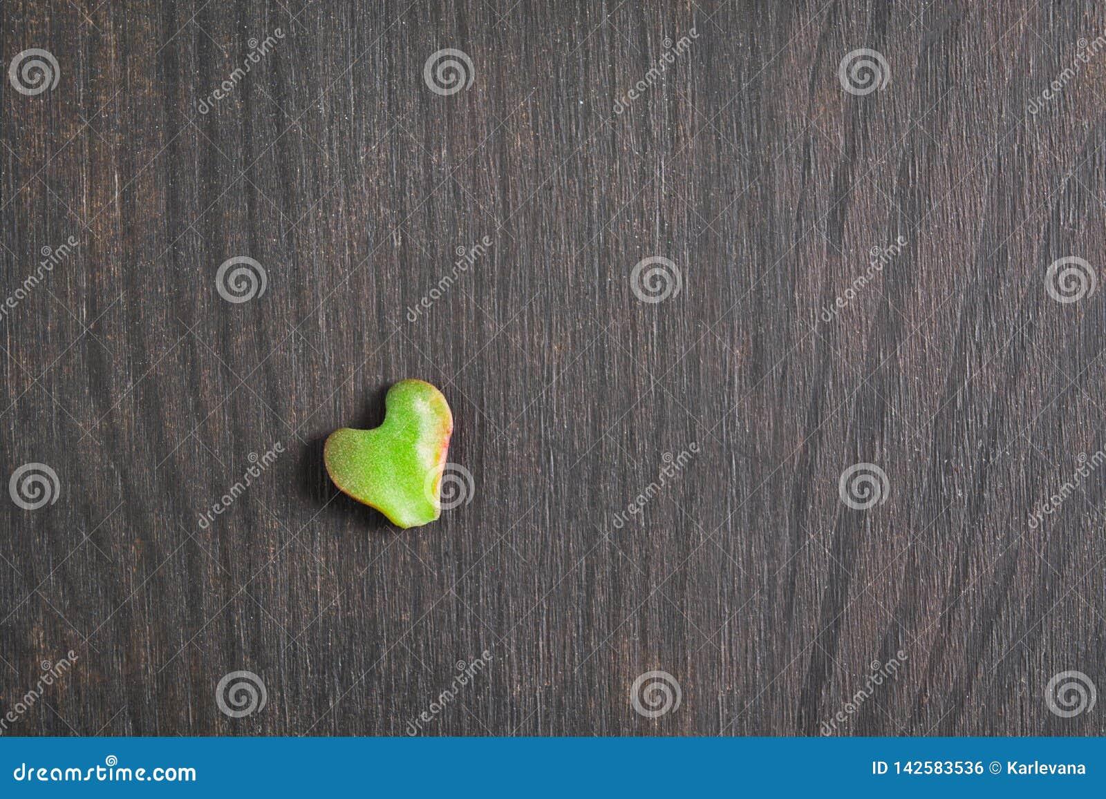 Coeur simple de la feuille verte, fond en bois de nature avec le symbole de l amour, jour de concept de la terre