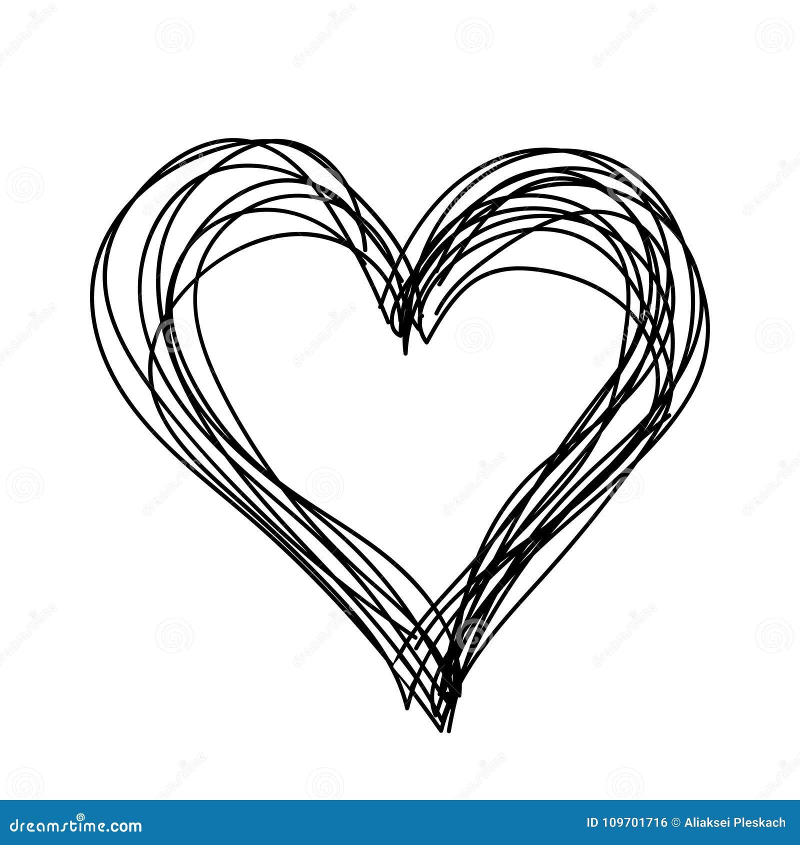 Coeur Simple De Vecteur Noir Et Blanc Enfants Tirés Par La