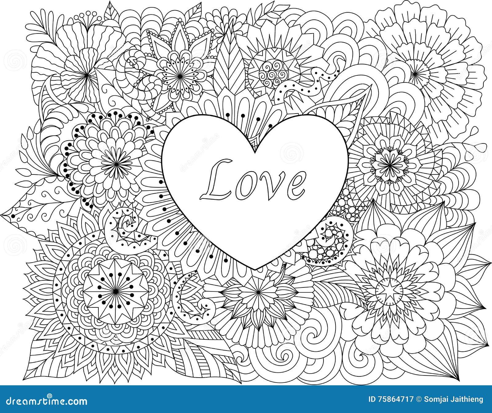 Coeur Sur Des Fleurs Pour Livres De Coloriage Pour La Carte