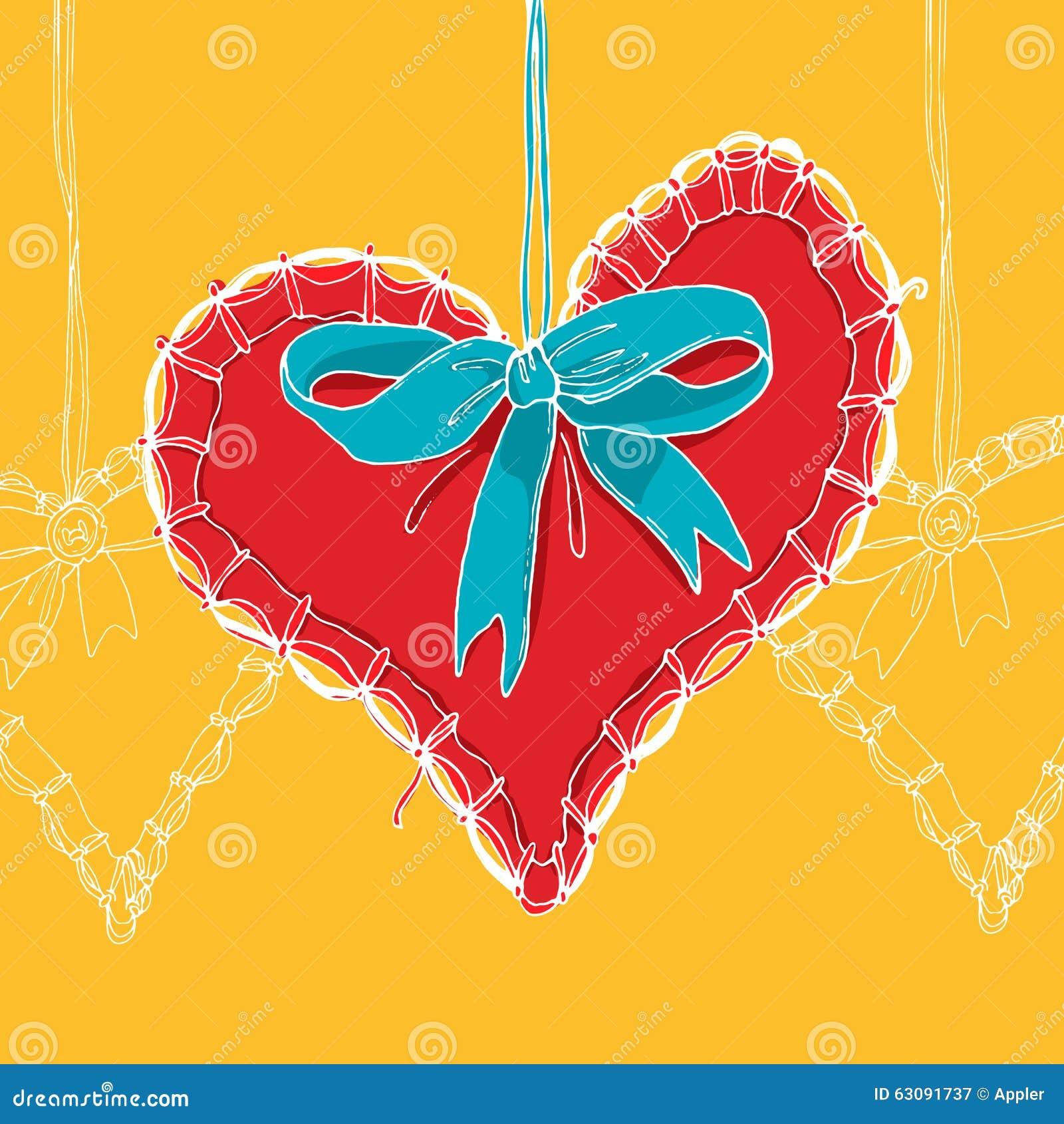 Download Coeur Tiré Par La Main Rouge Avec L'arc Bleu Illustration de Vecteur - Illustration du invitation, coeur: 63091737