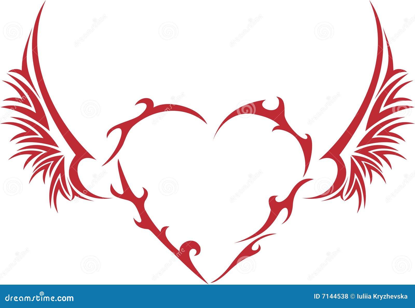 Coeur tribal avec des ailes illustration de vecteur illustration du abstrait seul 7144538 - Coeur avec des photos ...