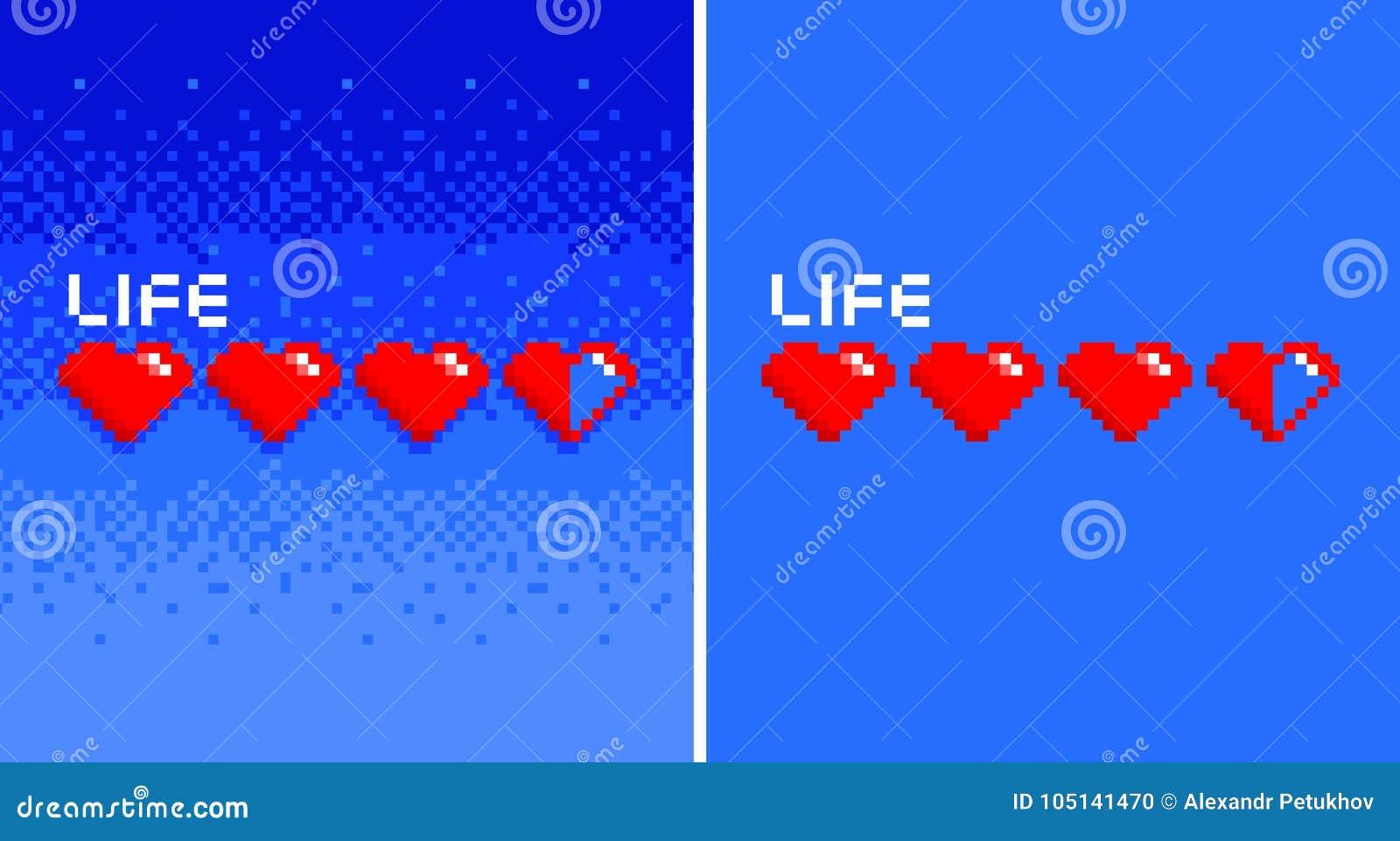 Coeurs à 8 bits de vintage de jeu d art de pixel sur le bacground bleu