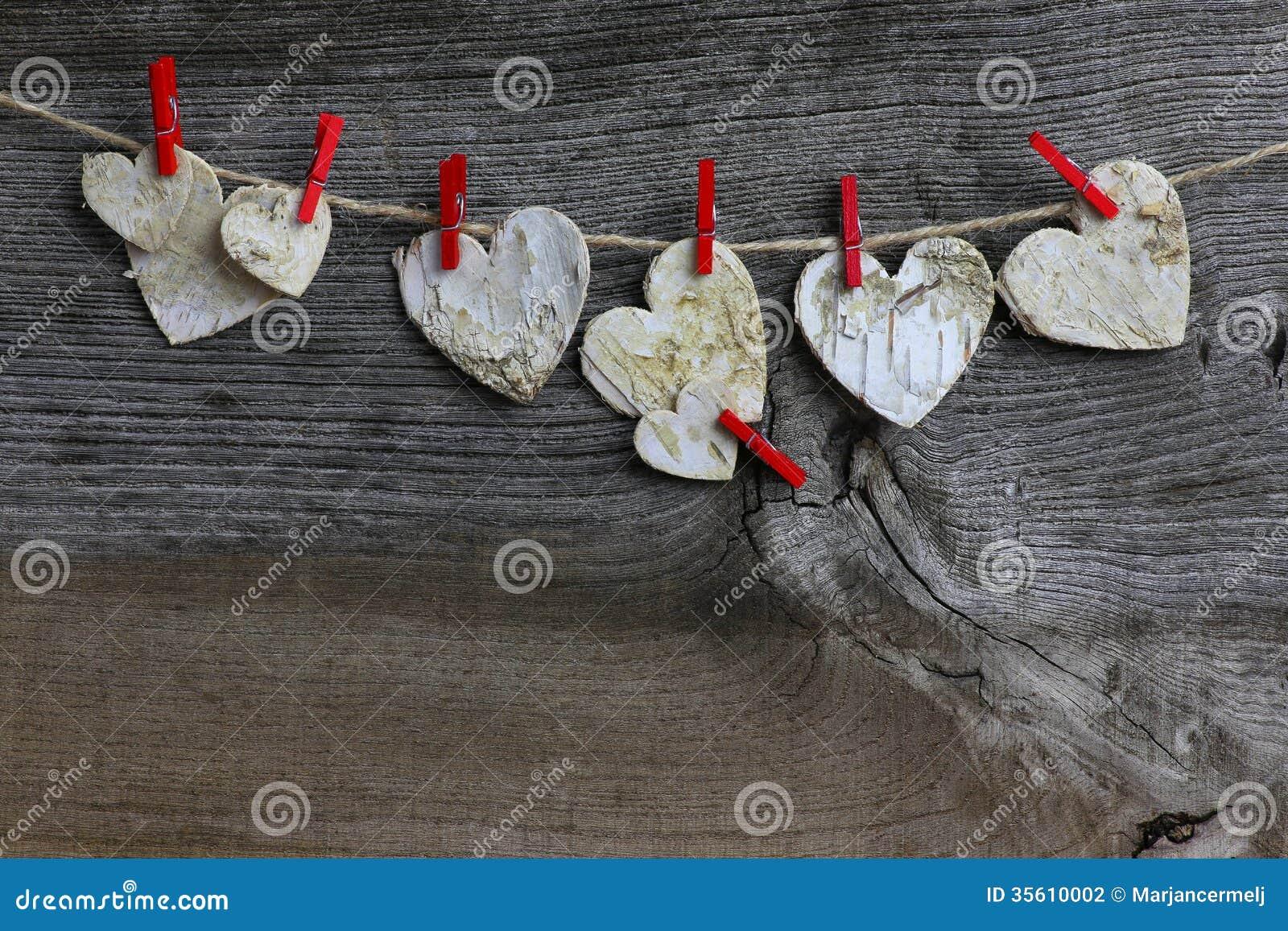 Coeurs en bois de bouleau fait main de décoration de Noël et agrafes ...
