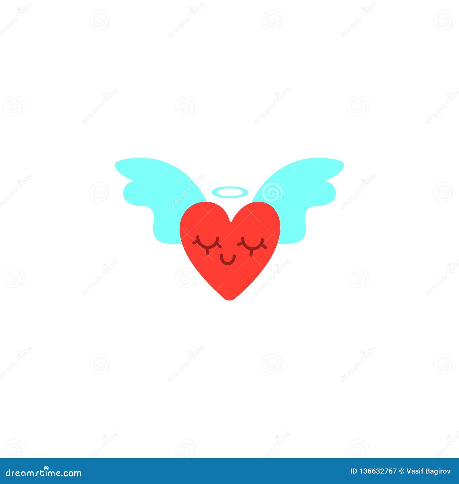 Coeurs avec des ailes Illustration de jour de valentines Image mignonne de style de bande dessinée Coeurs à ailes, couronne brill